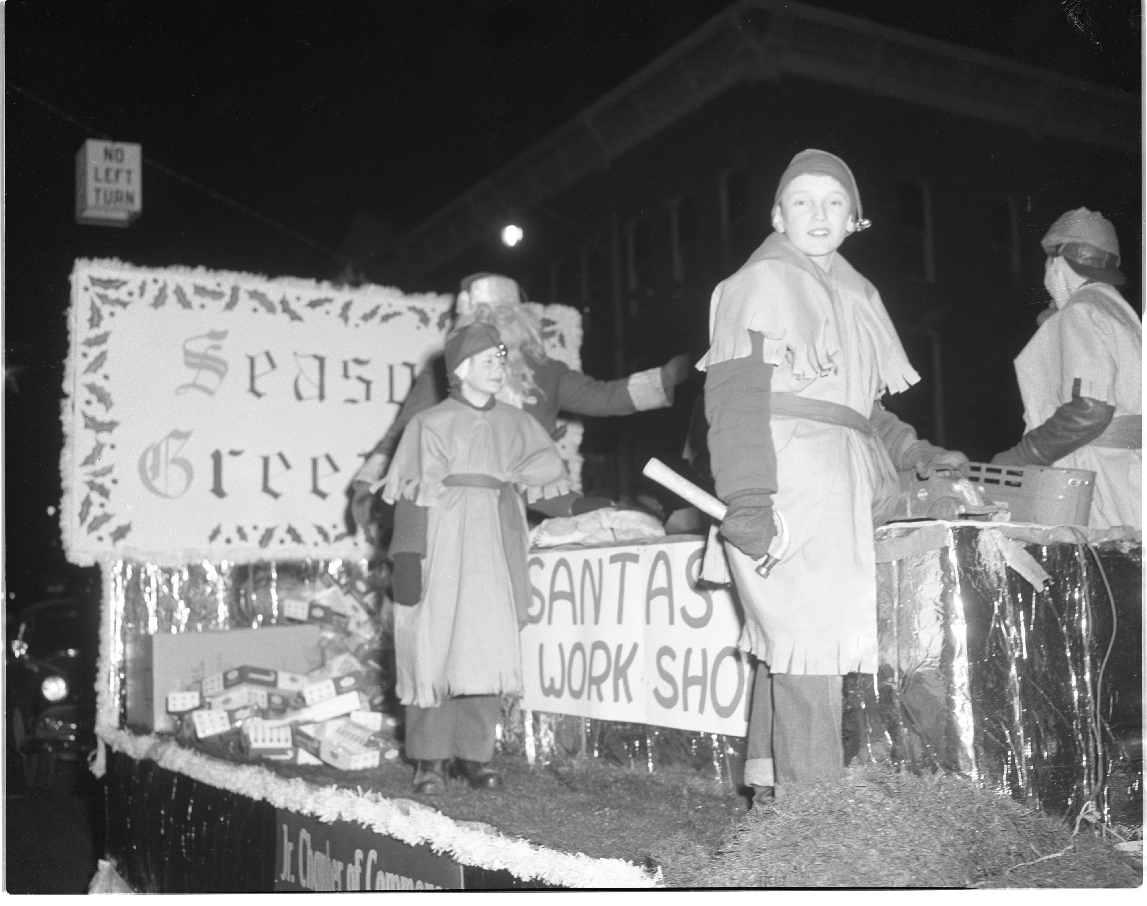 Ypsilanti Christmas Parade - Junior Chamber of Commerce Float, December 1954 image