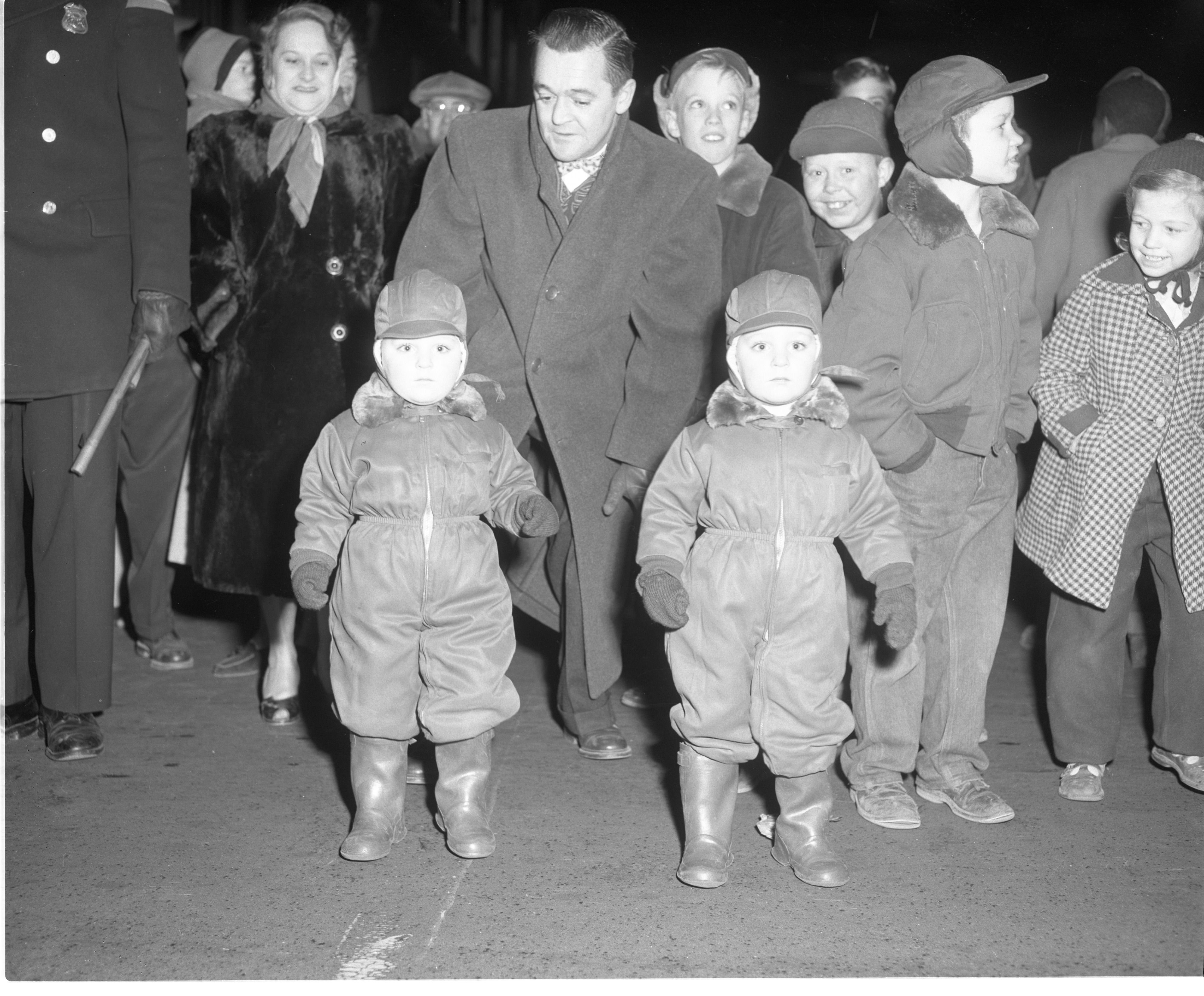 Children Along The Ypsilanti Christmas Parade Route, December 1954 image