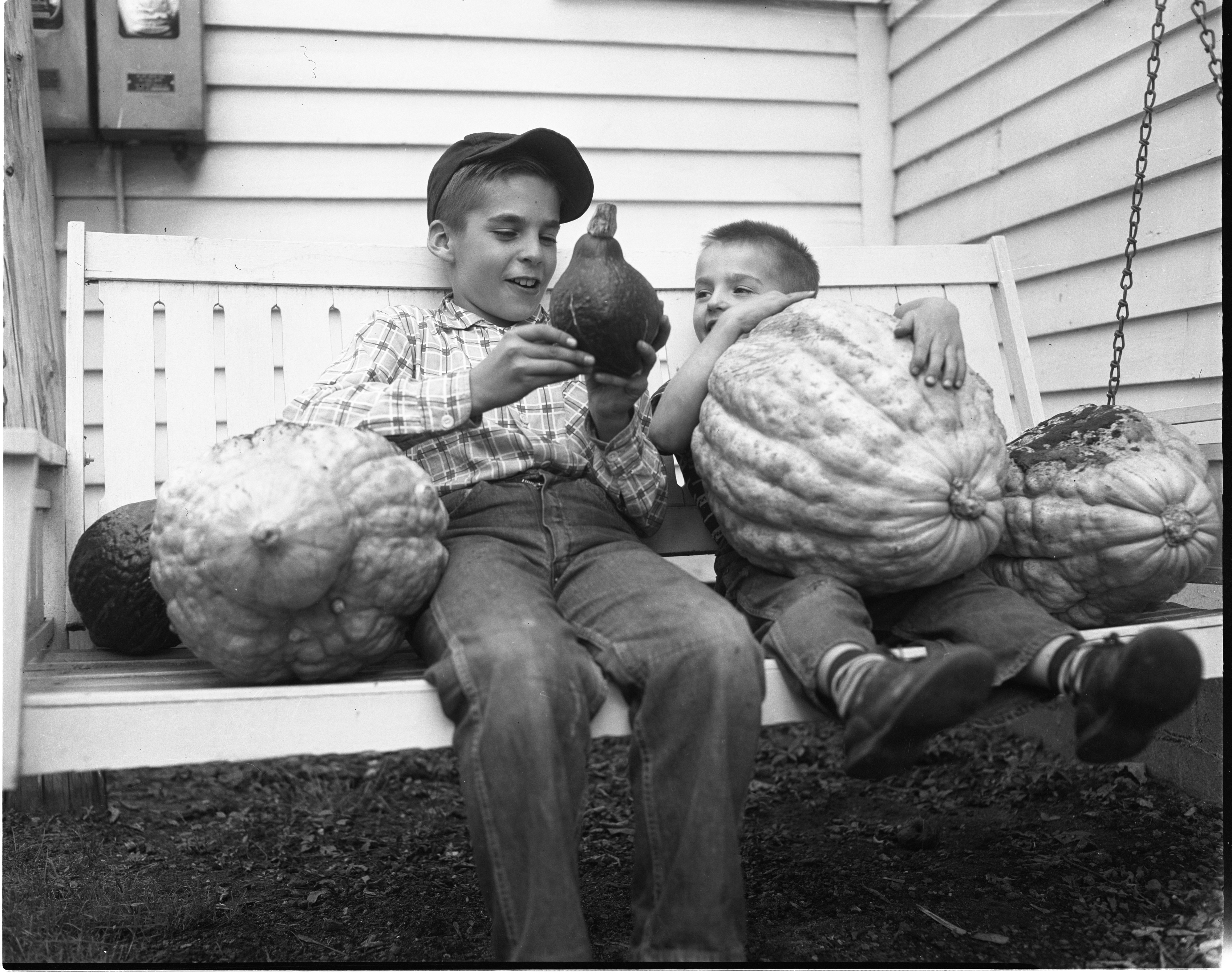 Don & Jack Beck With Giant Squash From Their Yard, October 1954 image