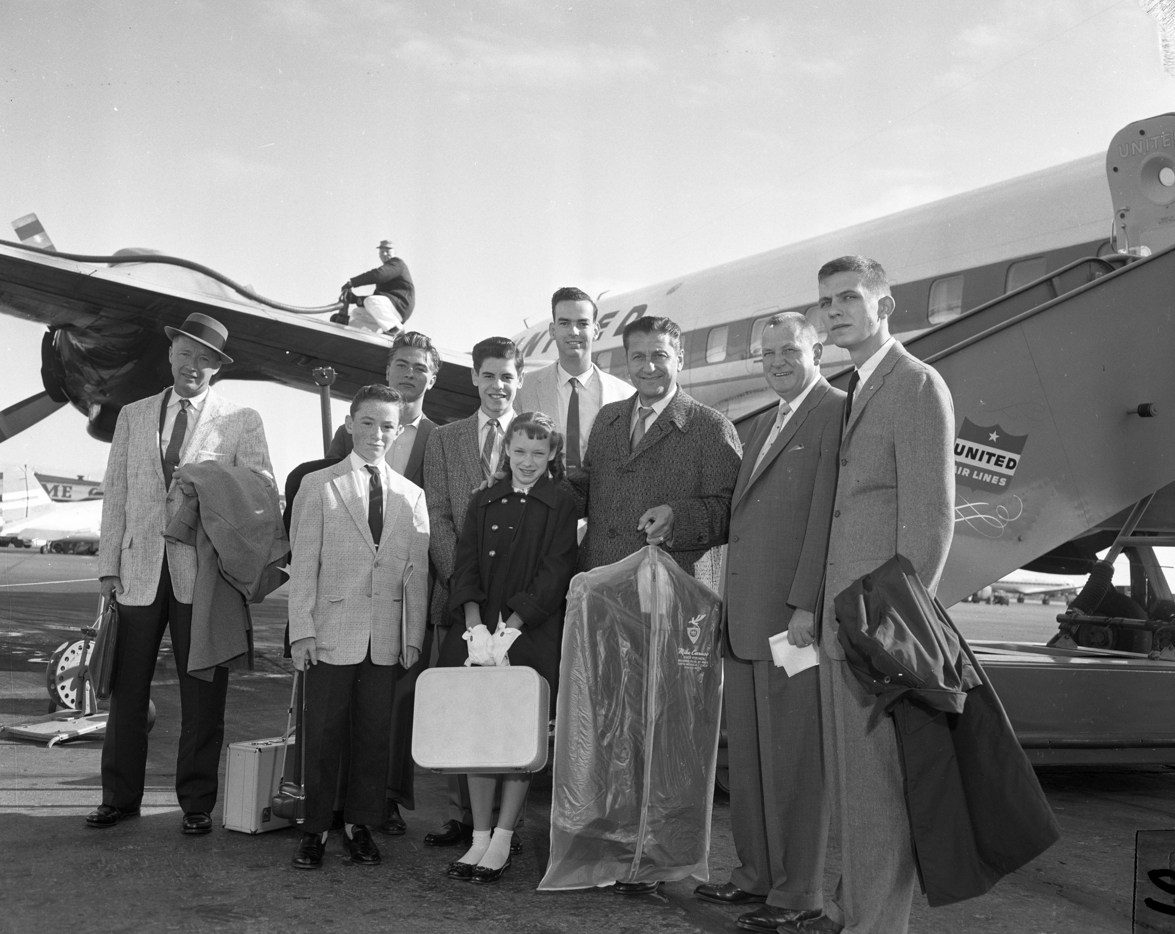 Lawrence Welk and members of his show at Willow Run Airport, May 1959 image
