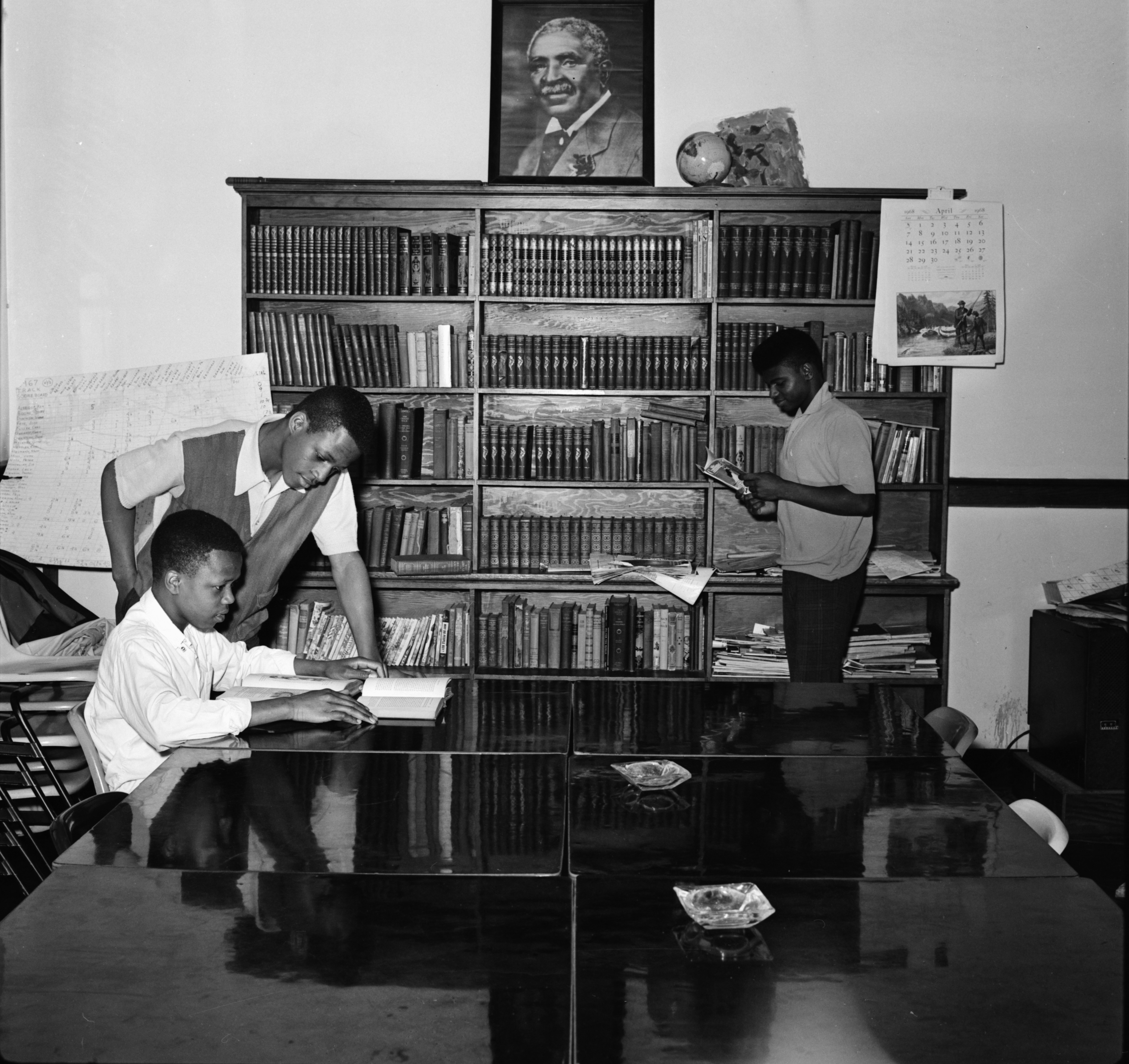 Ypsilanti Youths Enjoy Library at Parkridge Community Center, April 1968 image
