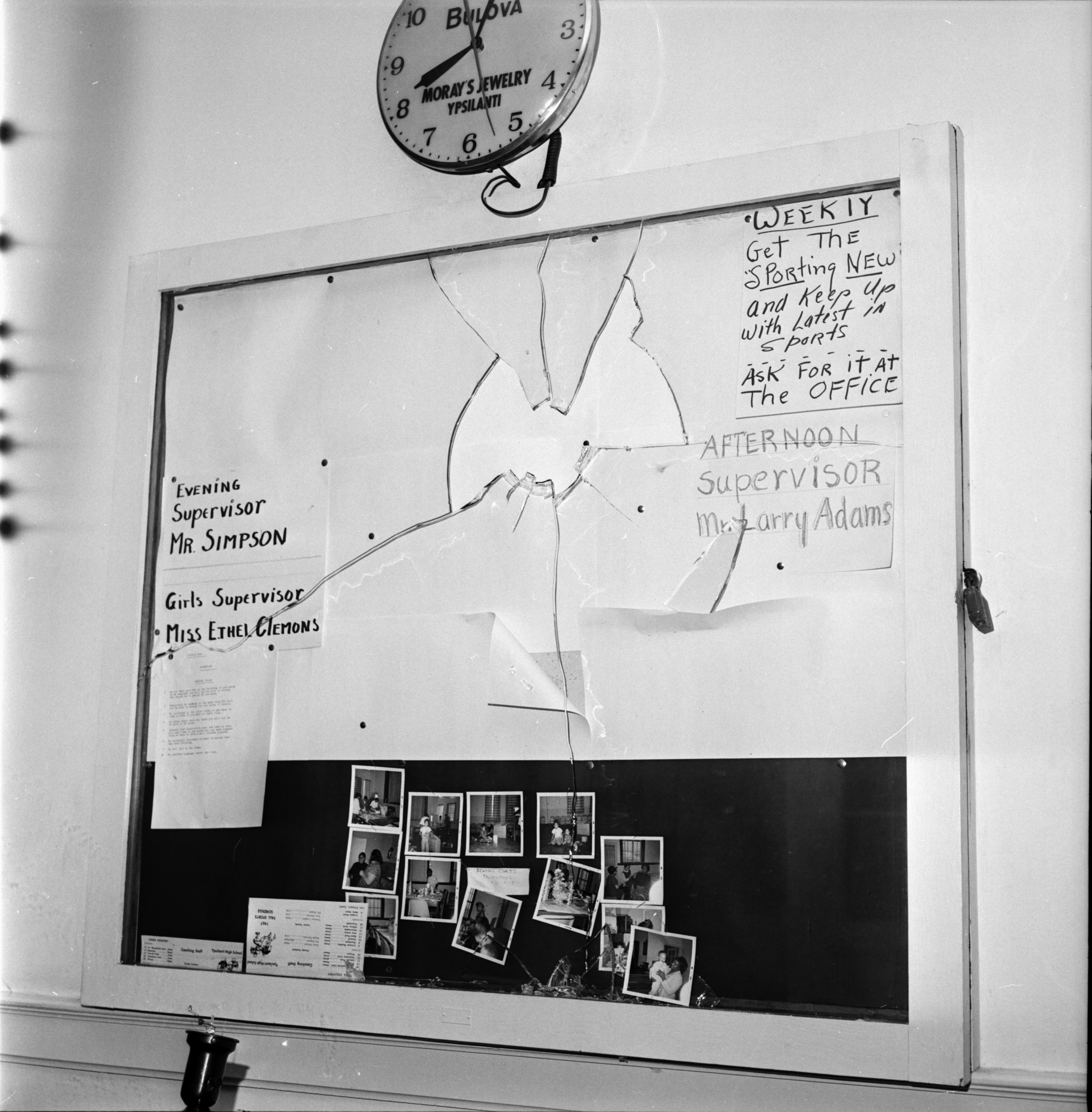 Message Board Damaged by Vandalism at Parkridge Community Center, October 1967 image