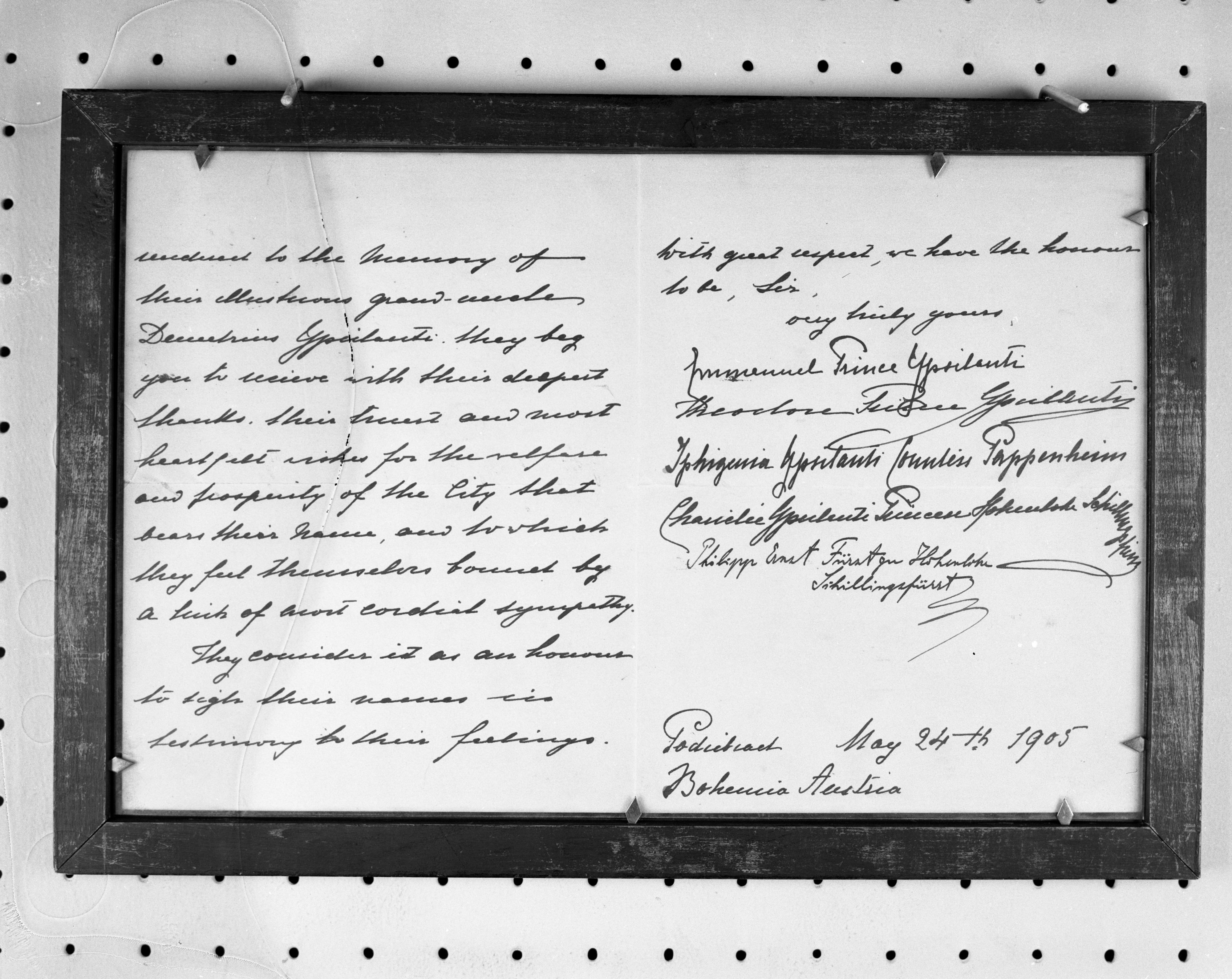 Photo of page 2 of 1905 letter from Austria regarding Ypsilanti history, June 1963 image