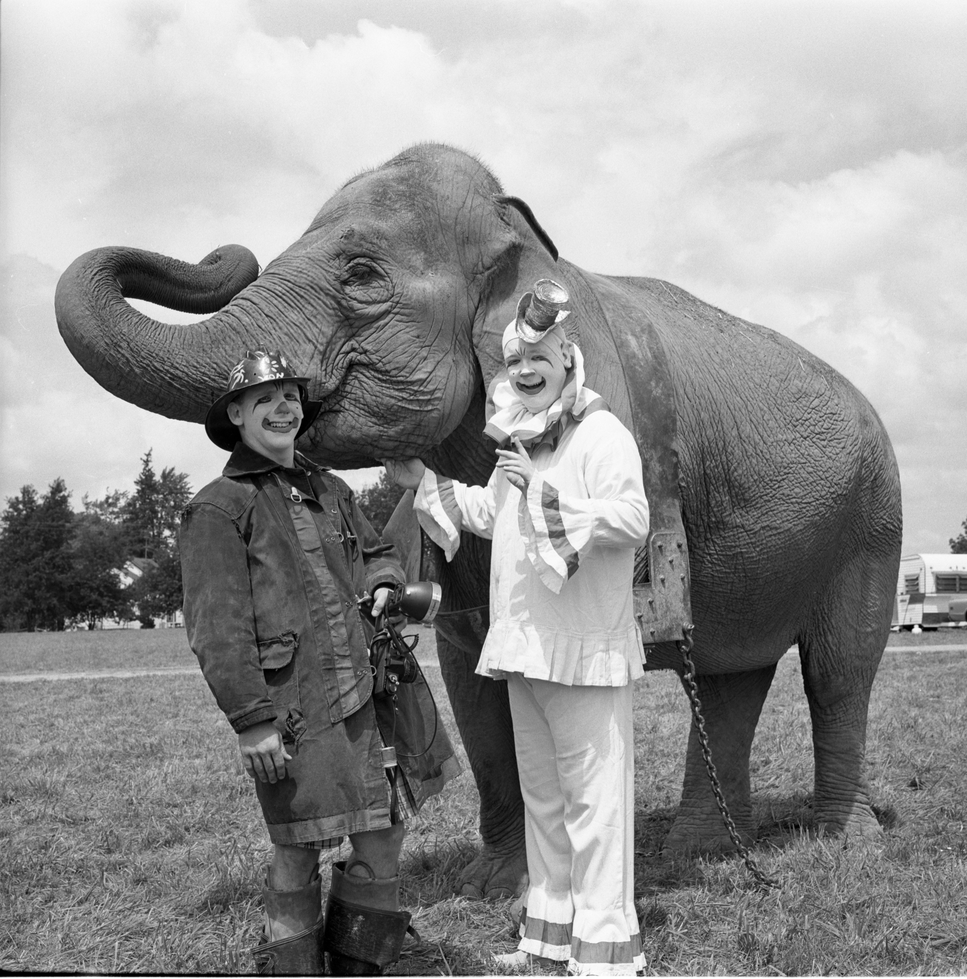 Clowns With Elephant At The Clyde-Beatty Cole Brothers Circus, August 8, 1968 image