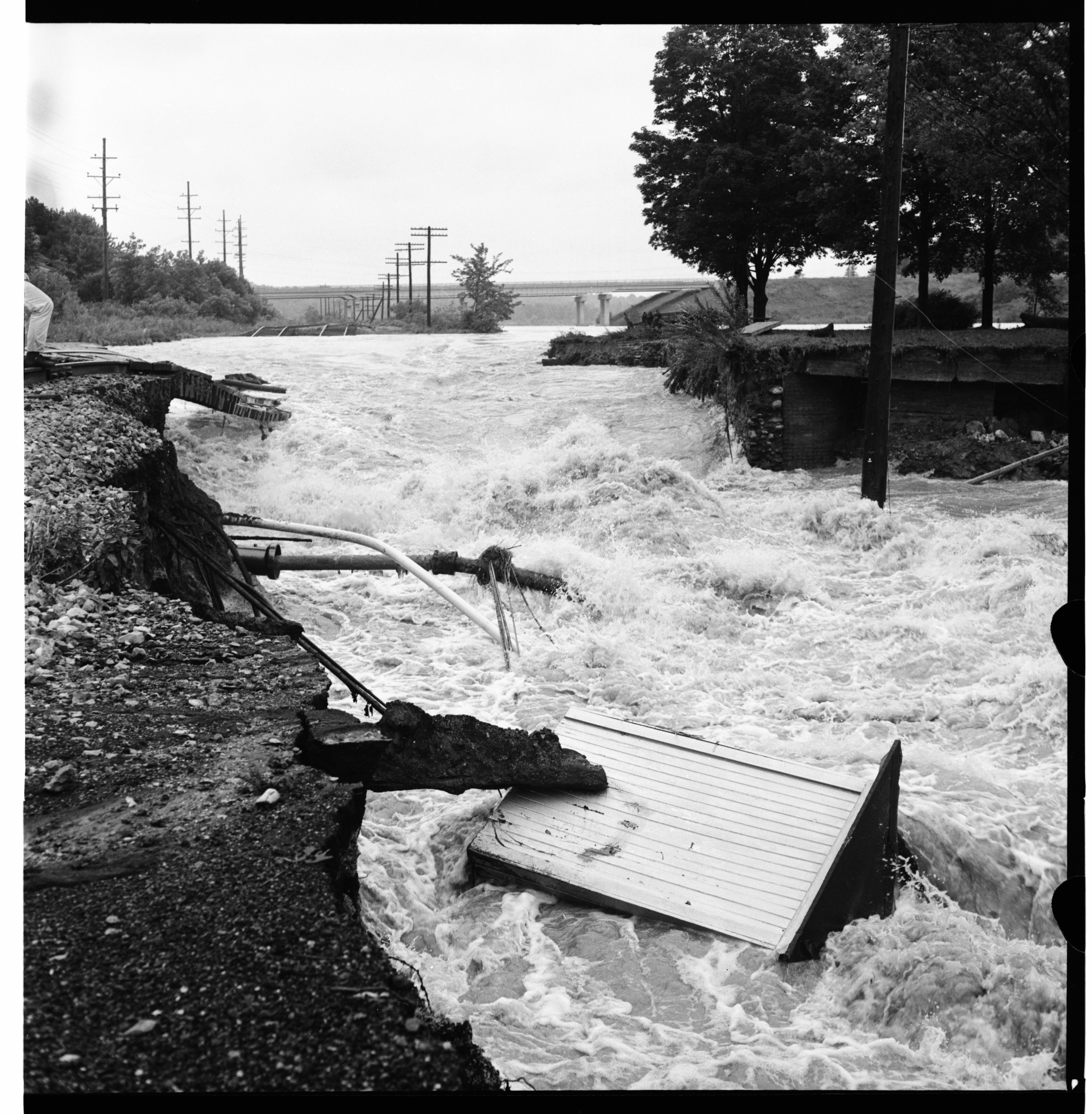 Washed Out Penn-Central Railroad Tracks near Dixboro Rd, June 1968 Flood image