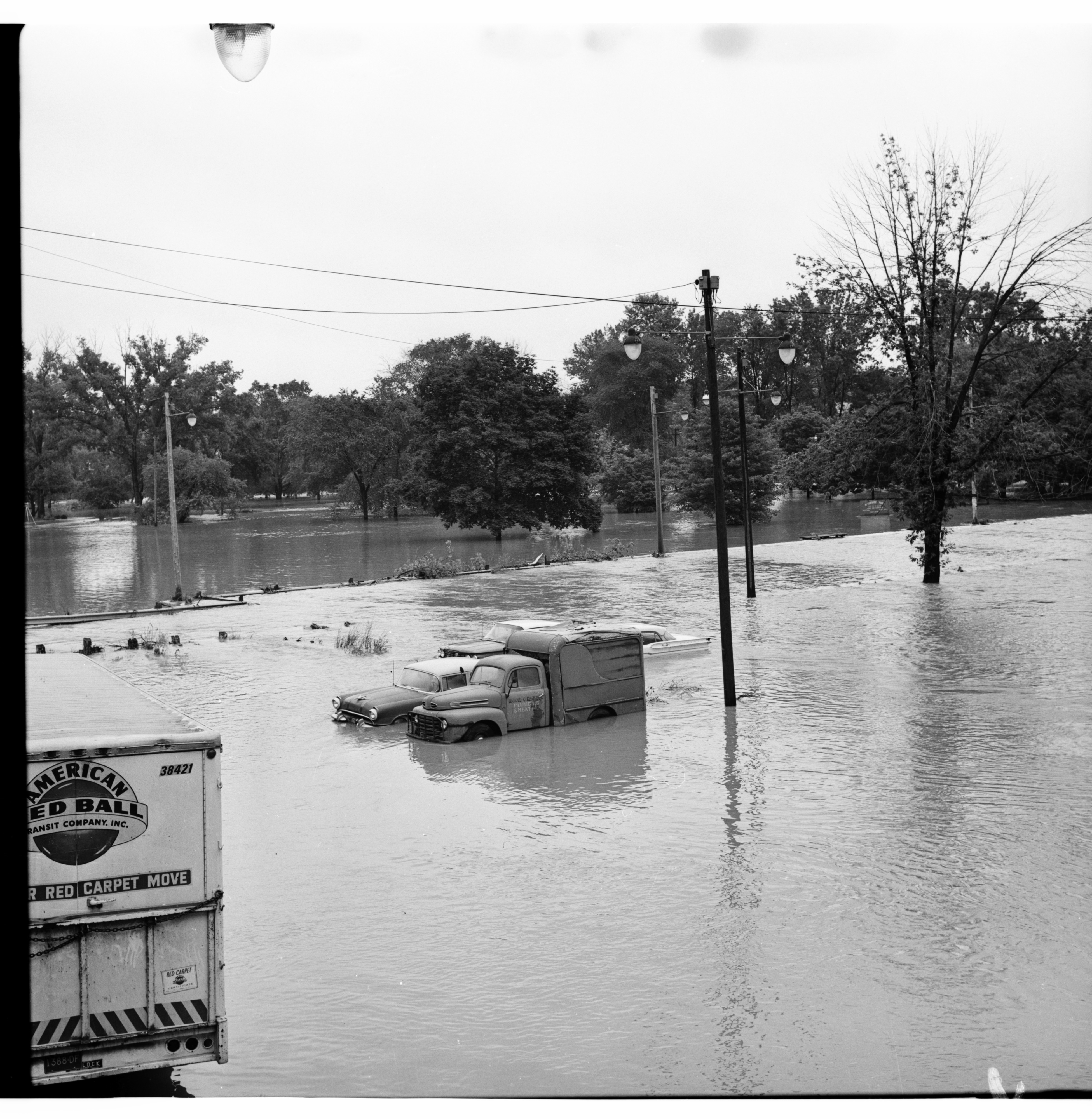 Flooded Park with Submerged Cars, June 1968 Flood image