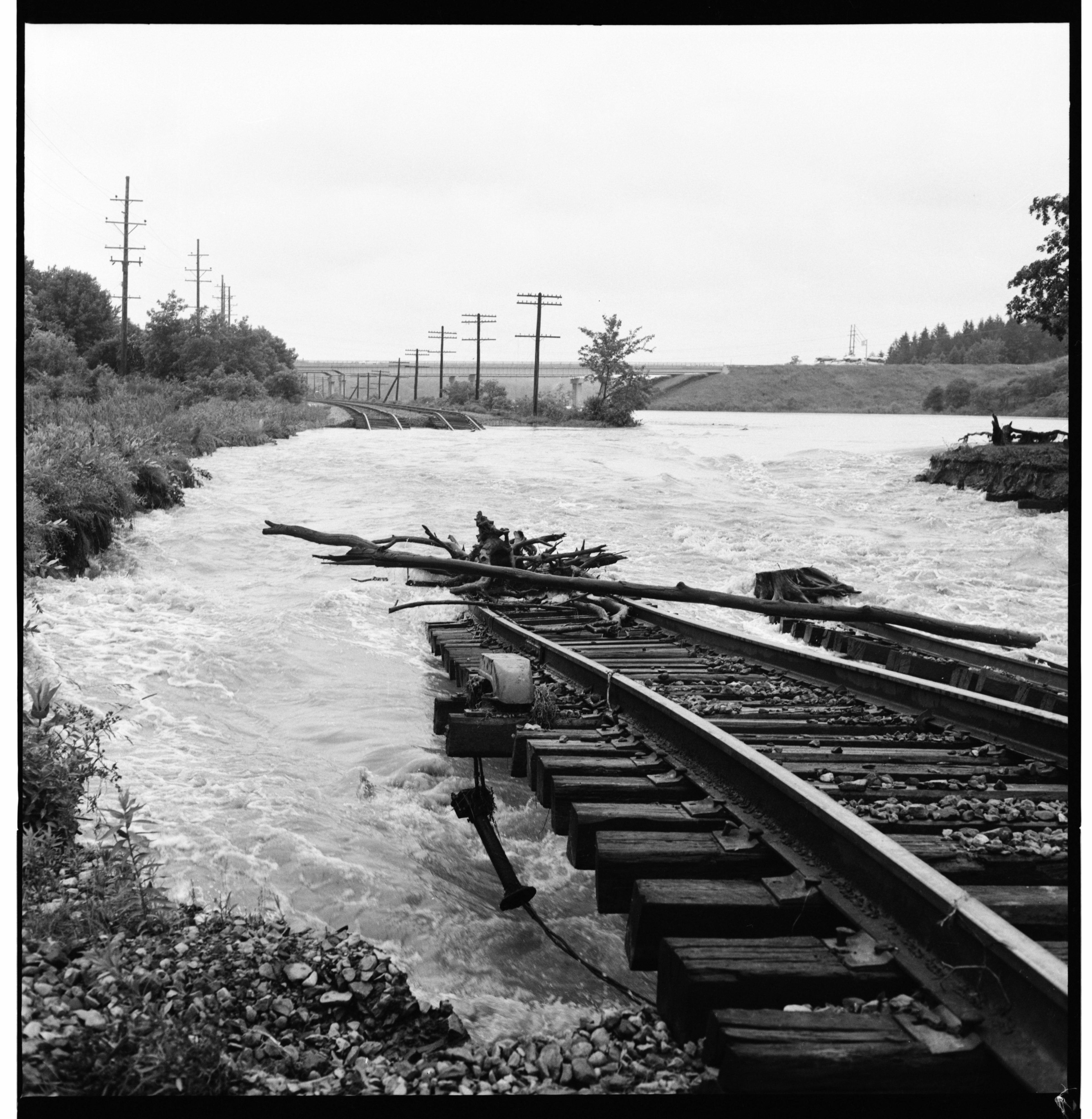 Washed Out Penn-Central Railroad Tracks, June 1968 Flood image