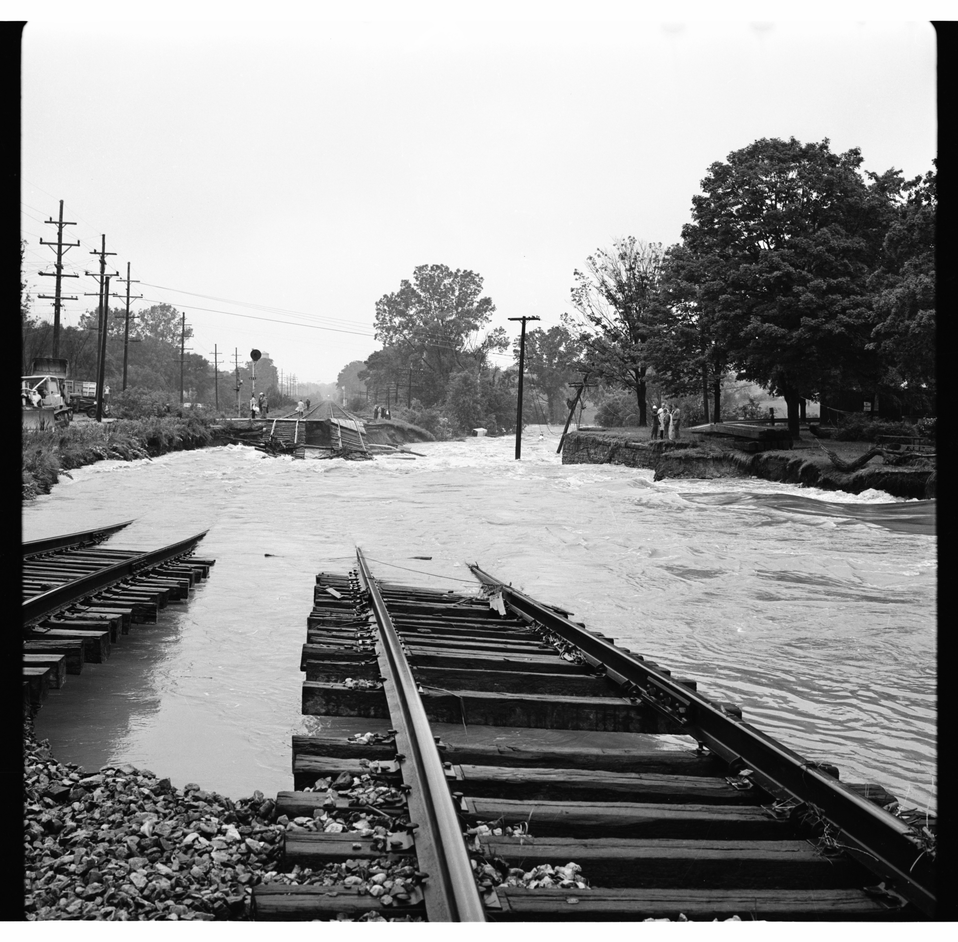 Washed Out Railroad Tracks, June 1968 Flood image