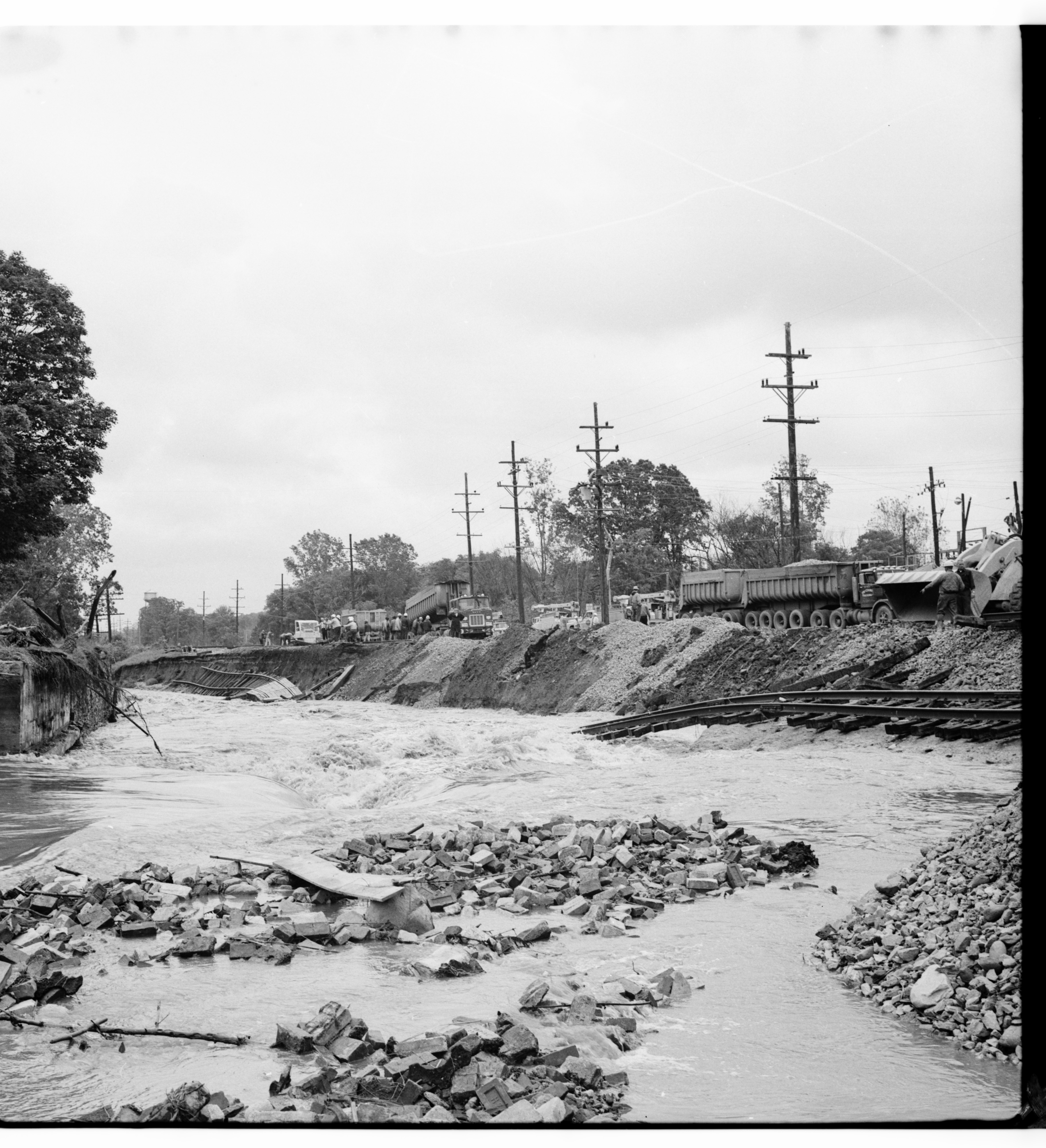 Repairing Washed Out Railroad Tracks, June 1968 Flood image