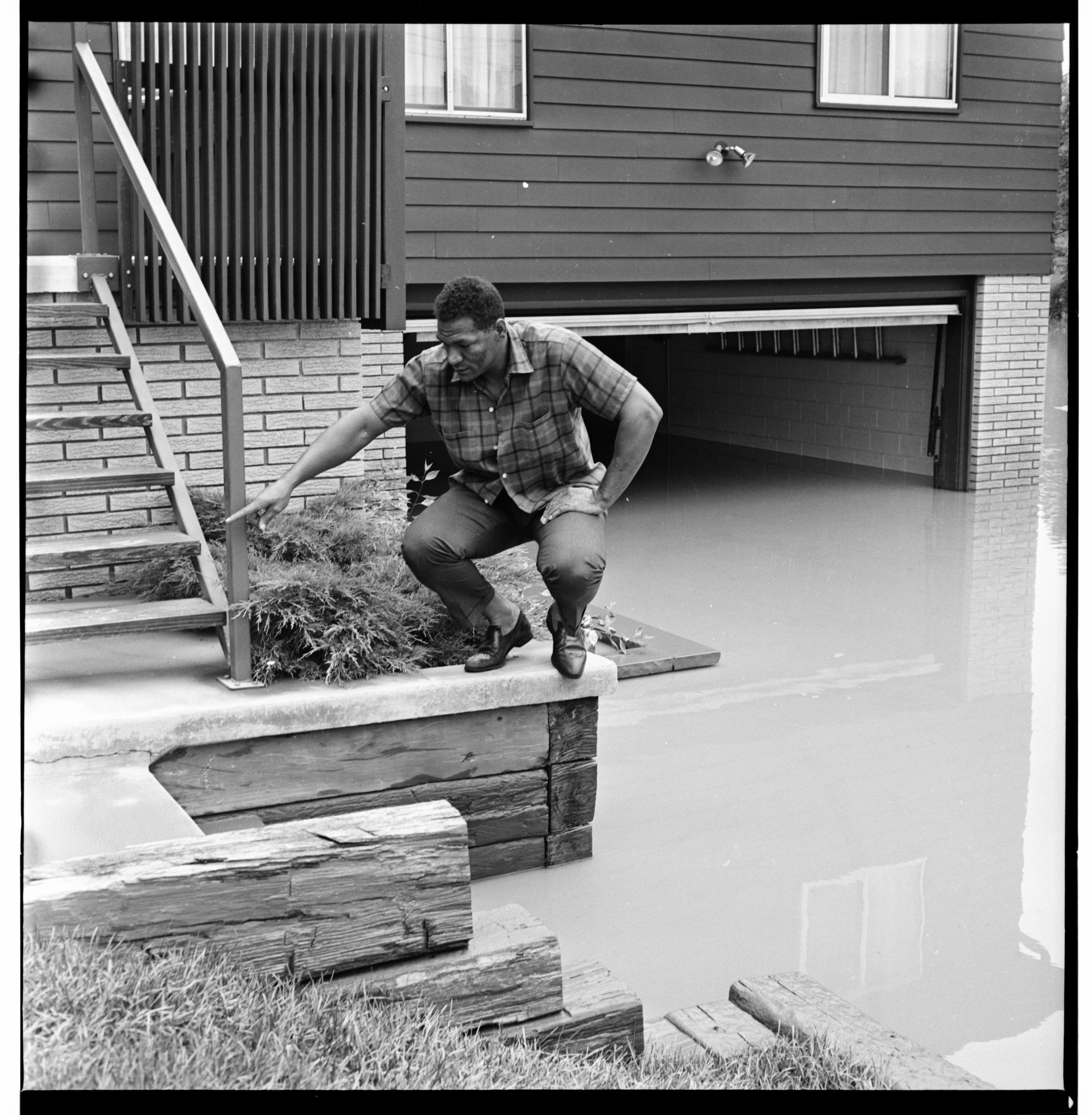 High Water Mark and Flooded Garage, June 1968 Flood image