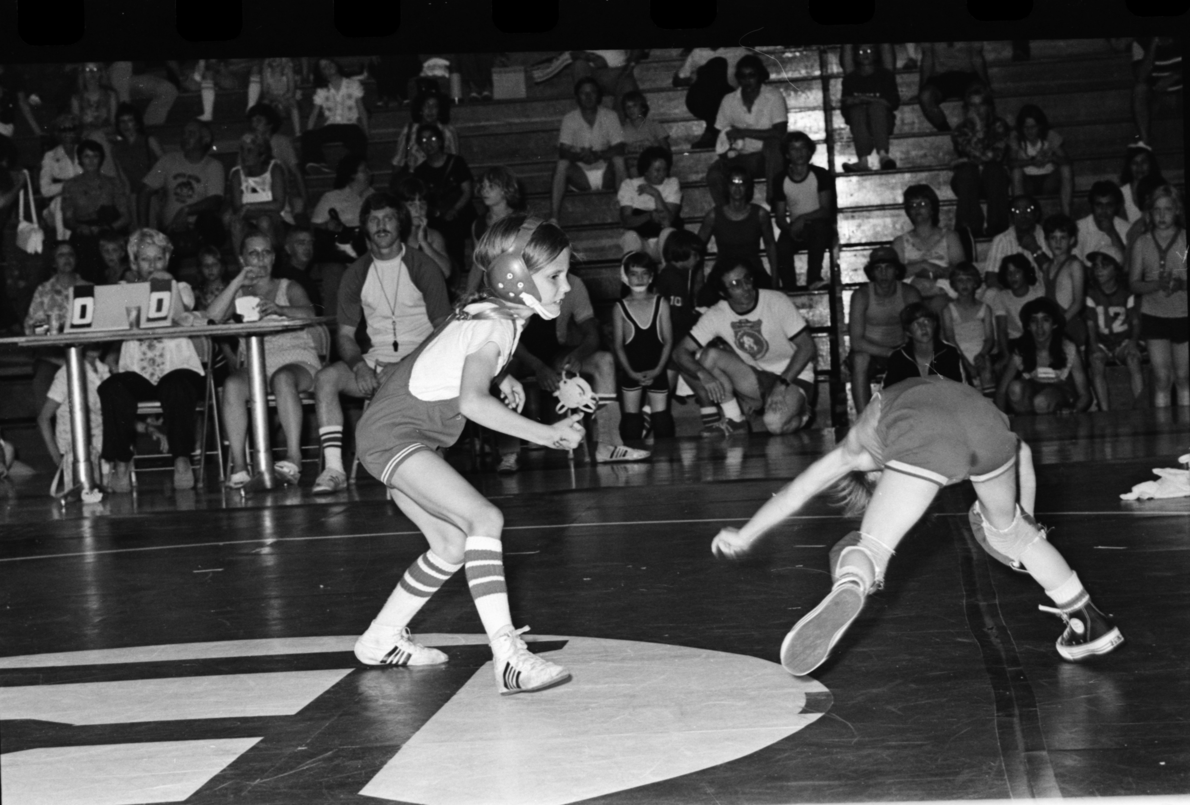 Tricia McNaughton Wrestles In The AAU Tournament At Bowen Fieldhouse, June 1975 image