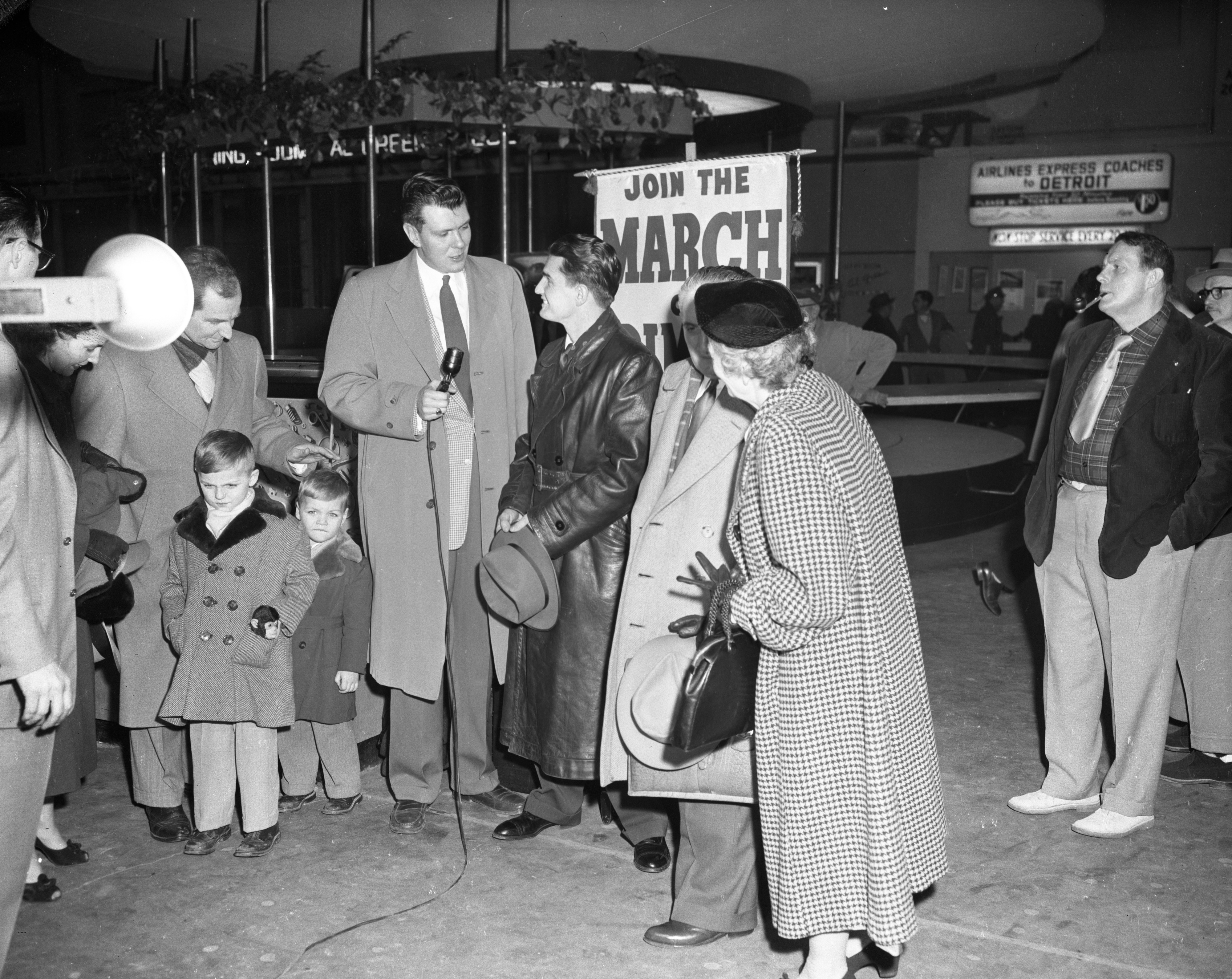 John Noble arrives at Willow Run Airport after spending 9 1/2 years in Russian prison camps, January 19 1955 image