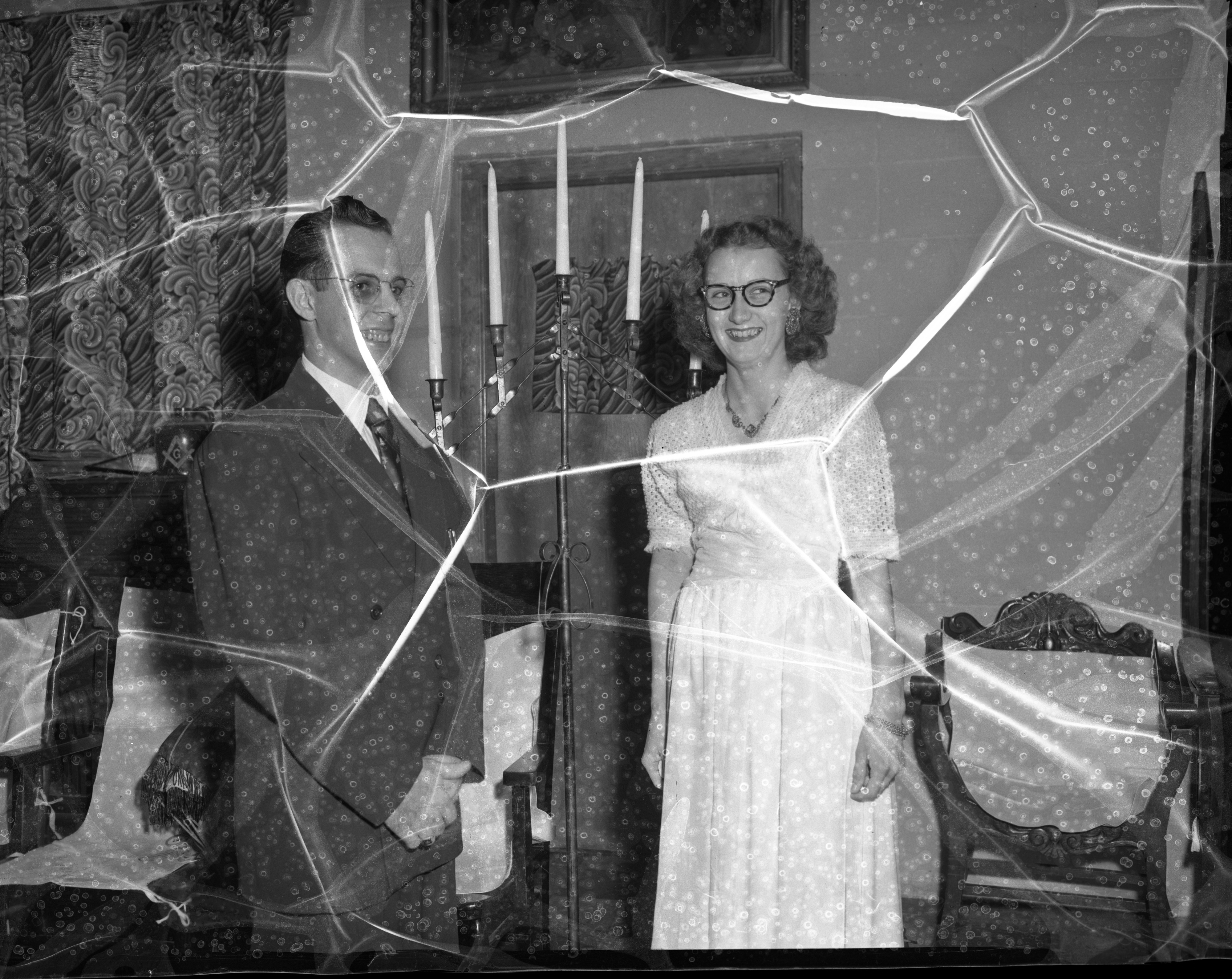 Officers Mrs. Frank McDermott, most excellent chief of Pythian Sisters, and Joseph Canzoneri, new chancellor commander of the Knights of Pythias of Queen City, Lodge 167, Ypsilanti, January 1955 image