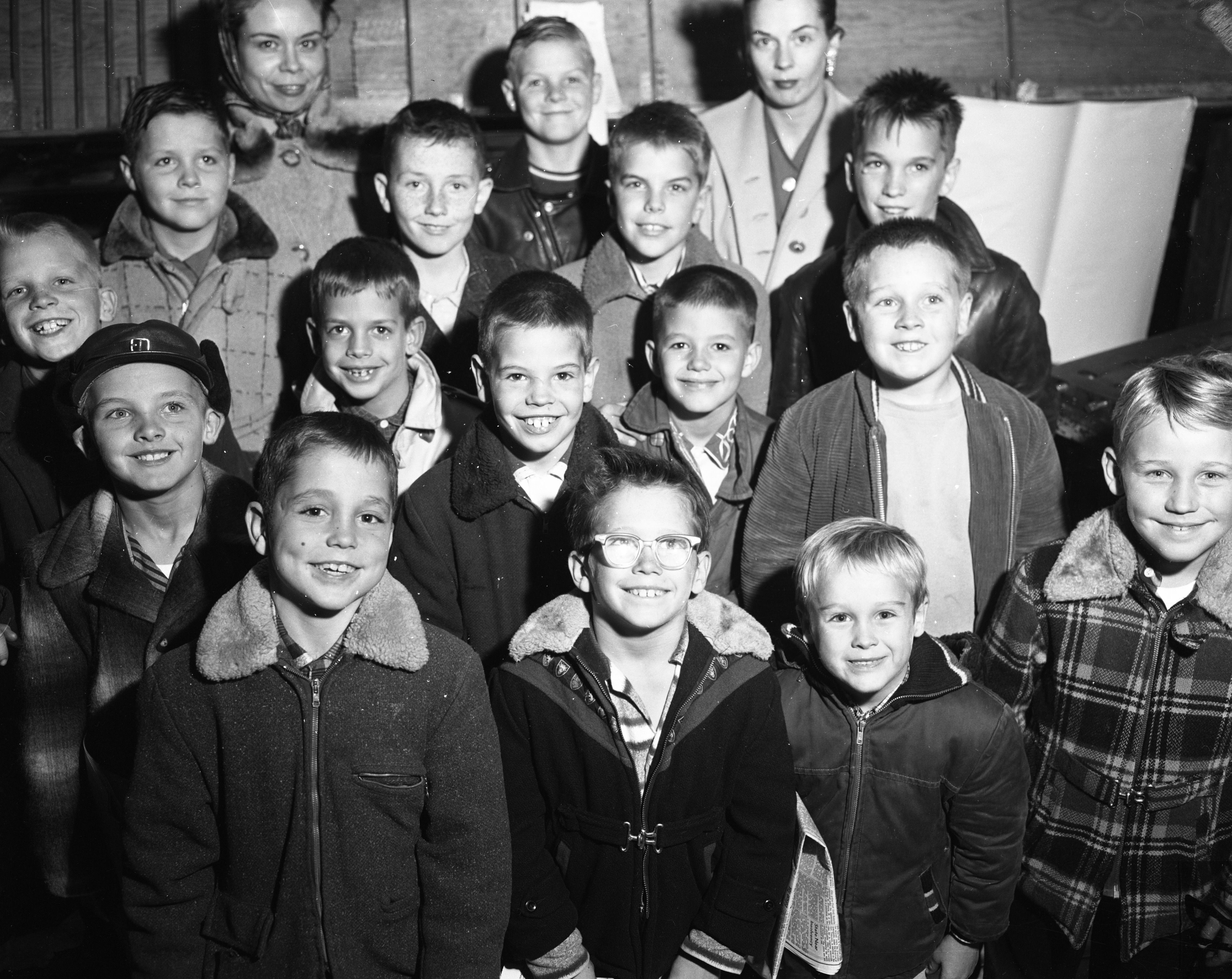 Cub Scouts of Dens Two and Four of the Rawsonville Pack 45 pose after their tour of the Ypsilanti Daily Press, November 1958 image