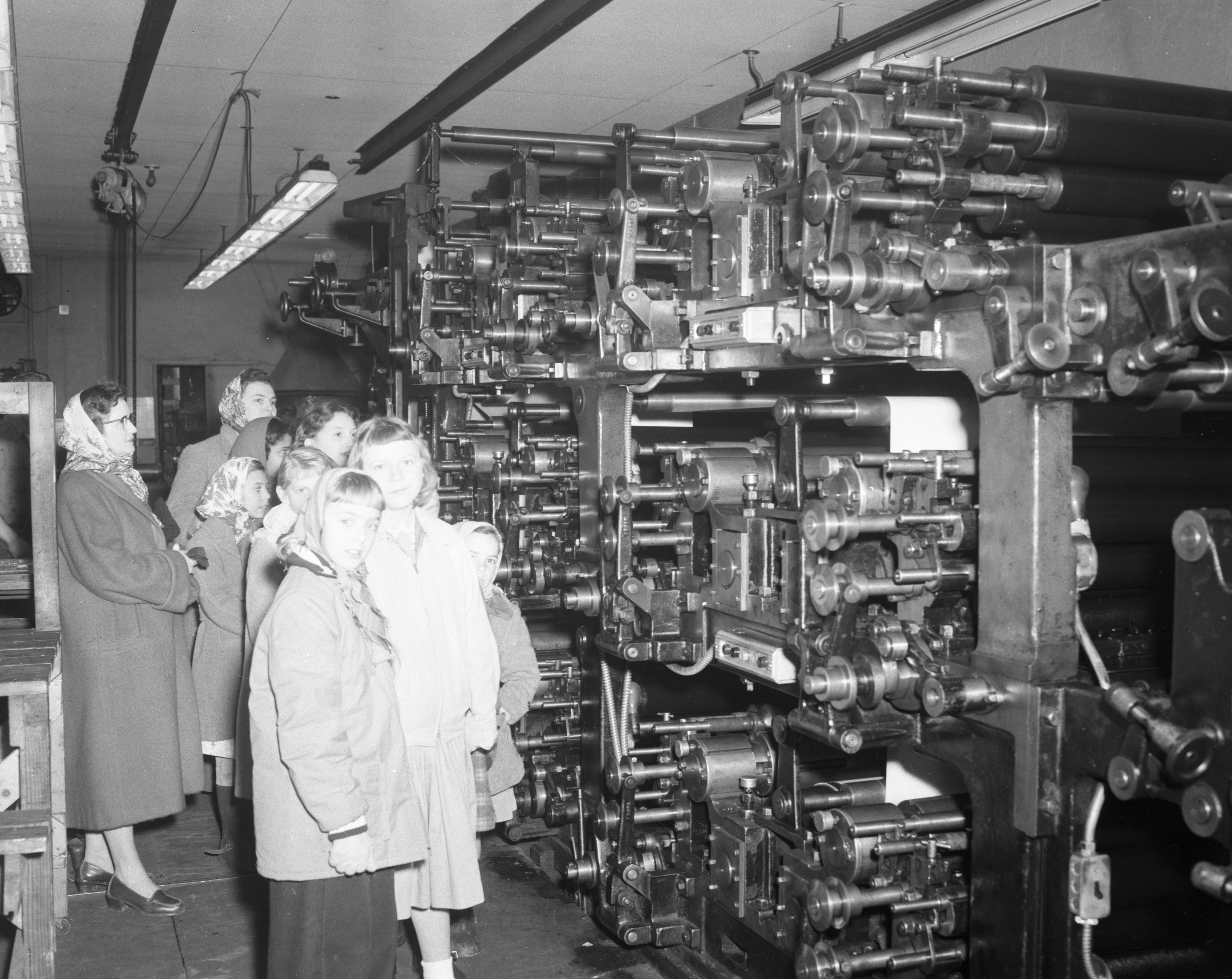 Girl Scout Troop 75 of Rawsonville tours the Ypsilanti Daily Press, January 1956 image