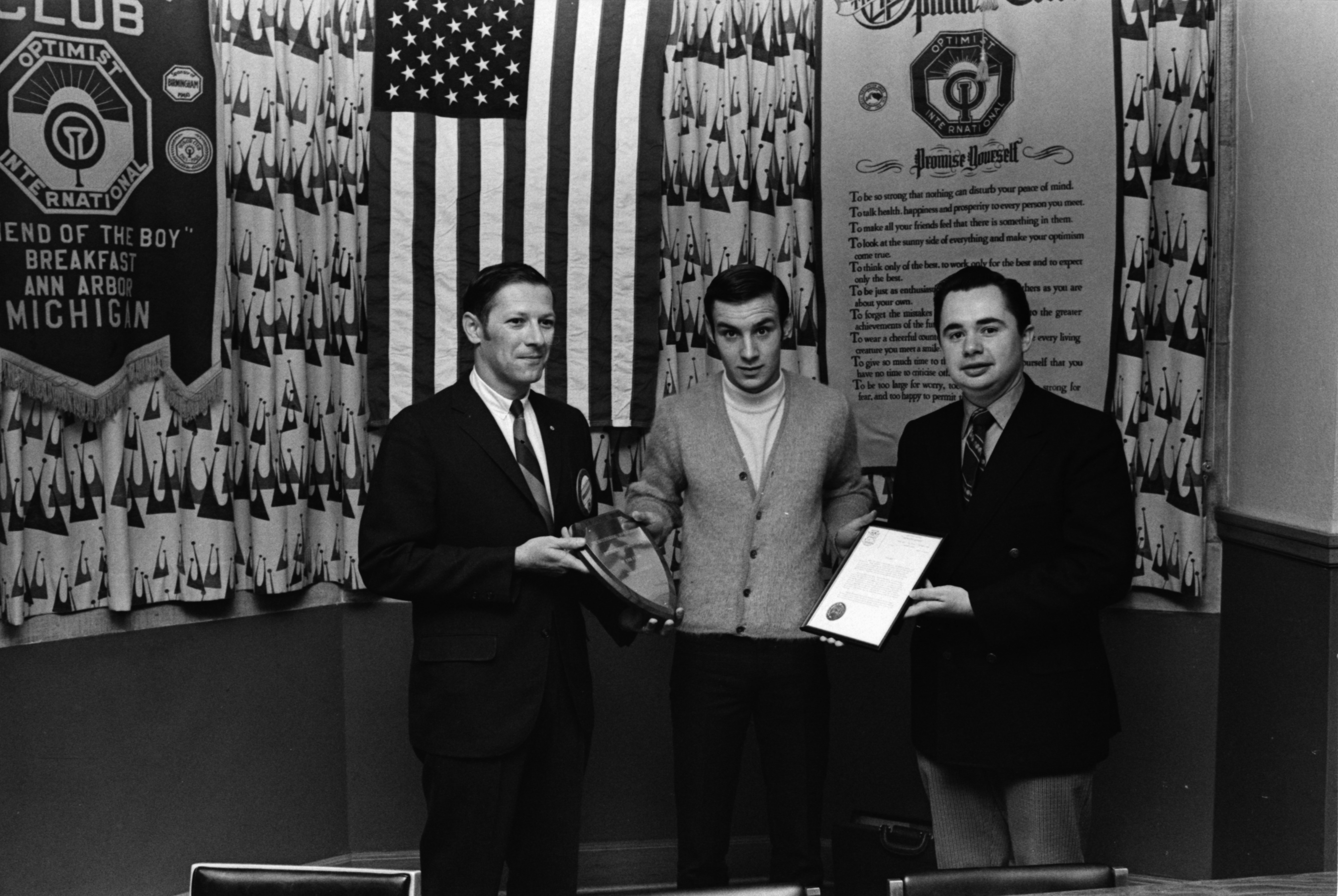 Thomas Brennan Receives Plaque for Capturing Burglar, October 1970 image