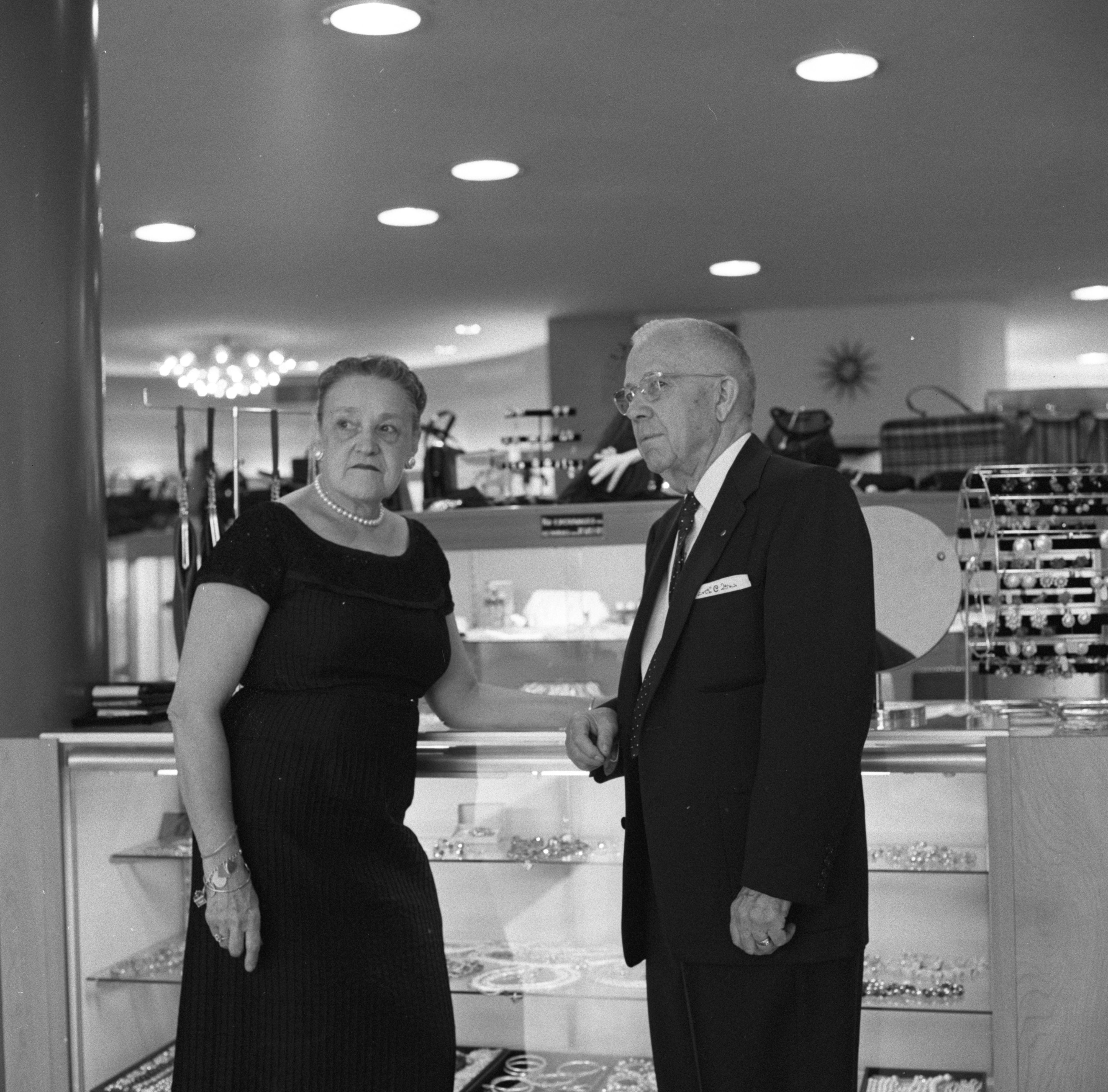 Mr. and Mrs. G. P. Collins - Owners of the Collins Shop, September 1958 image