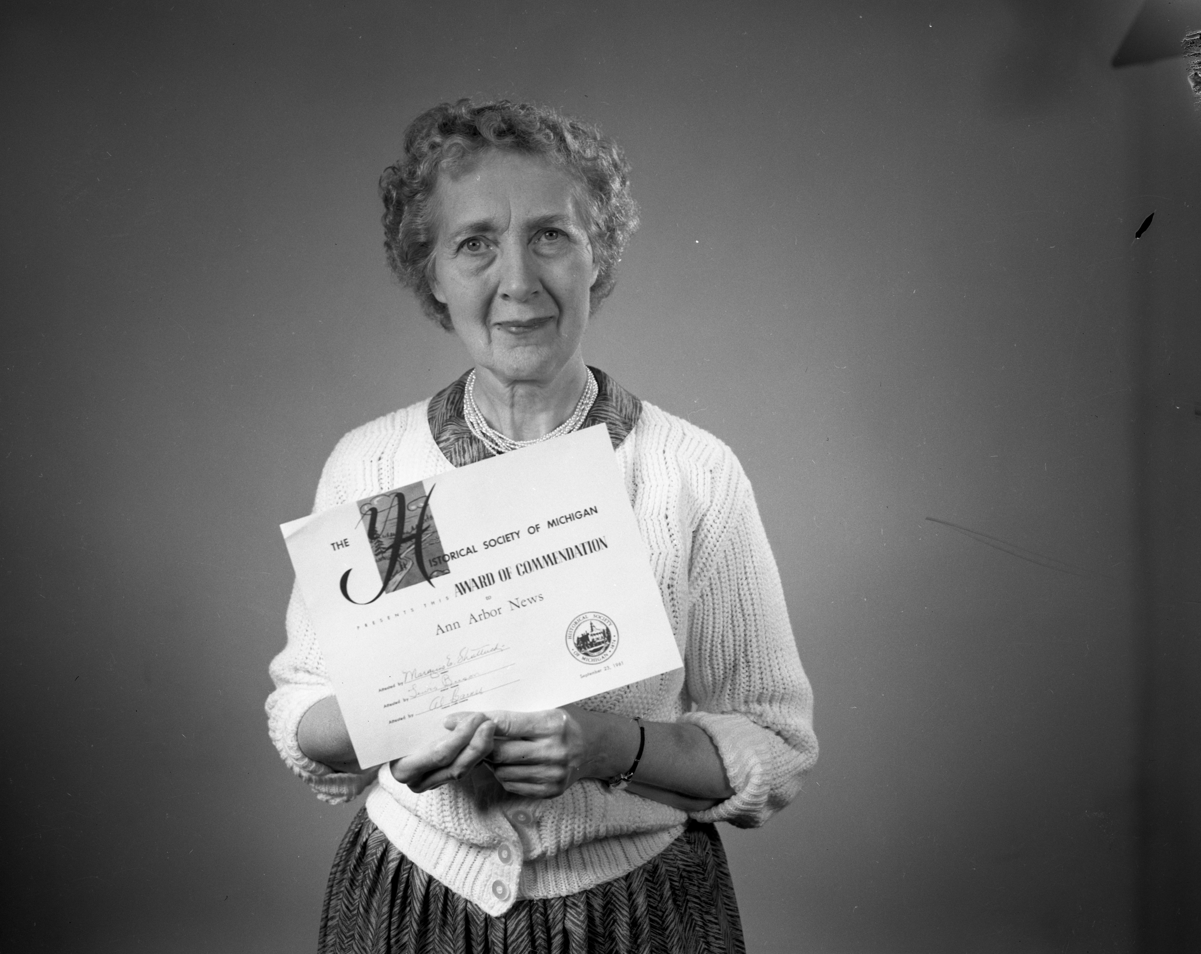 Local Historian Lela Duff Wins Historical Society of Michigan Award For Ann Arbor Yesterdays Series, September 1961 image