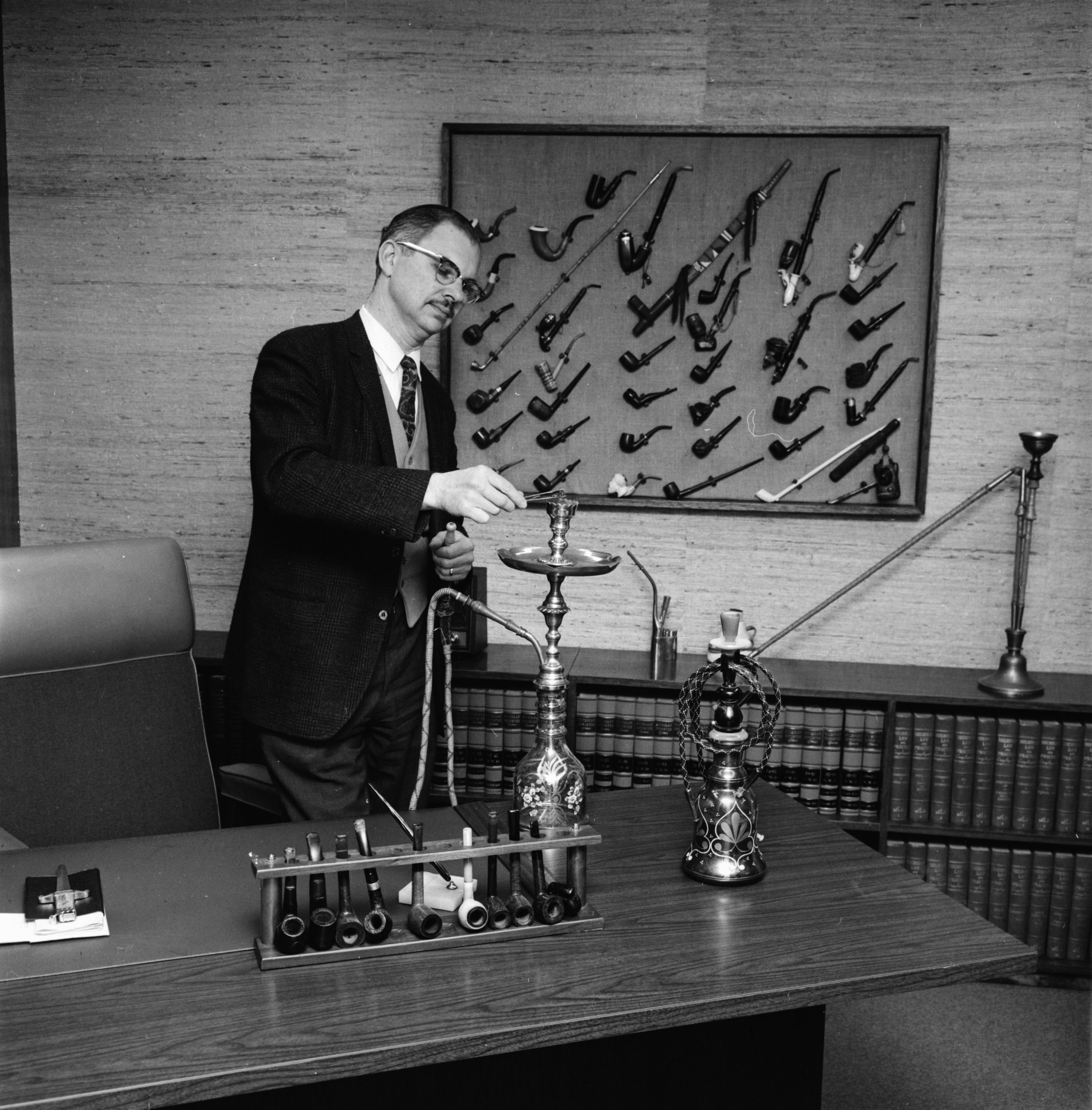 Judge S. J. Elden With His Pipe Collection, April 1967 image