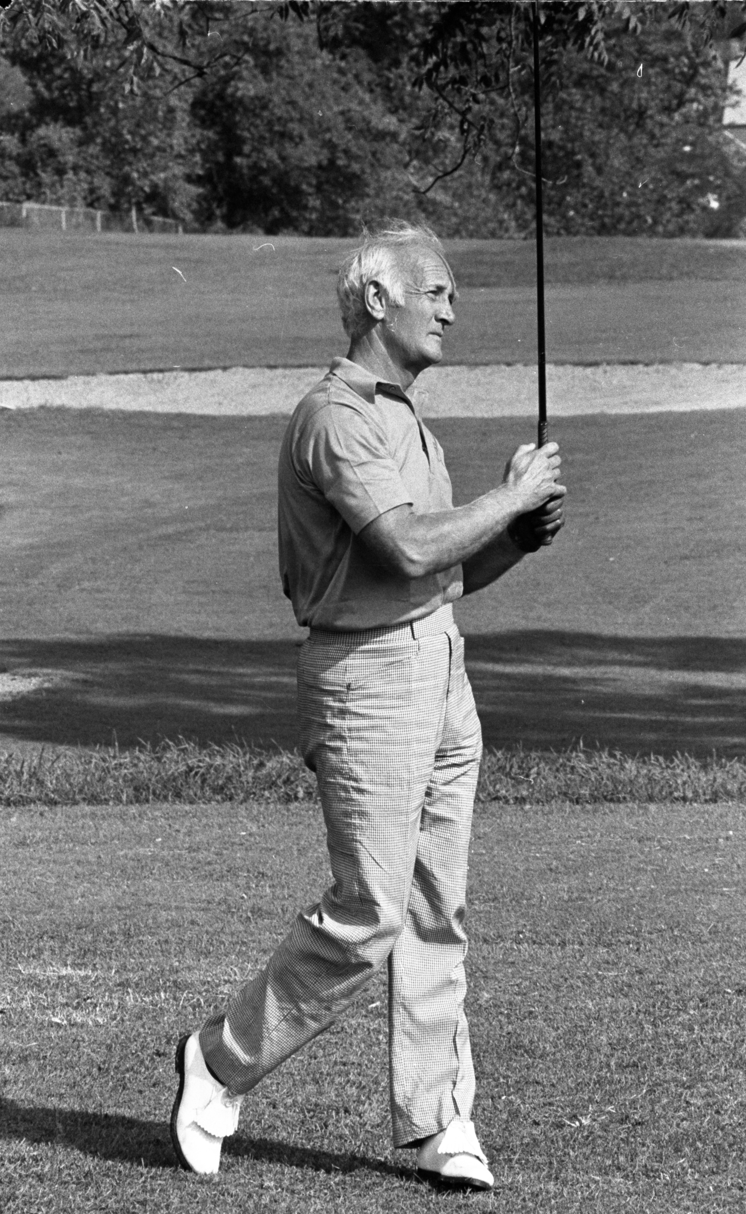 Wolverine Football Star Tom Harmon Golfs University of Michigan Course, September 1974 image