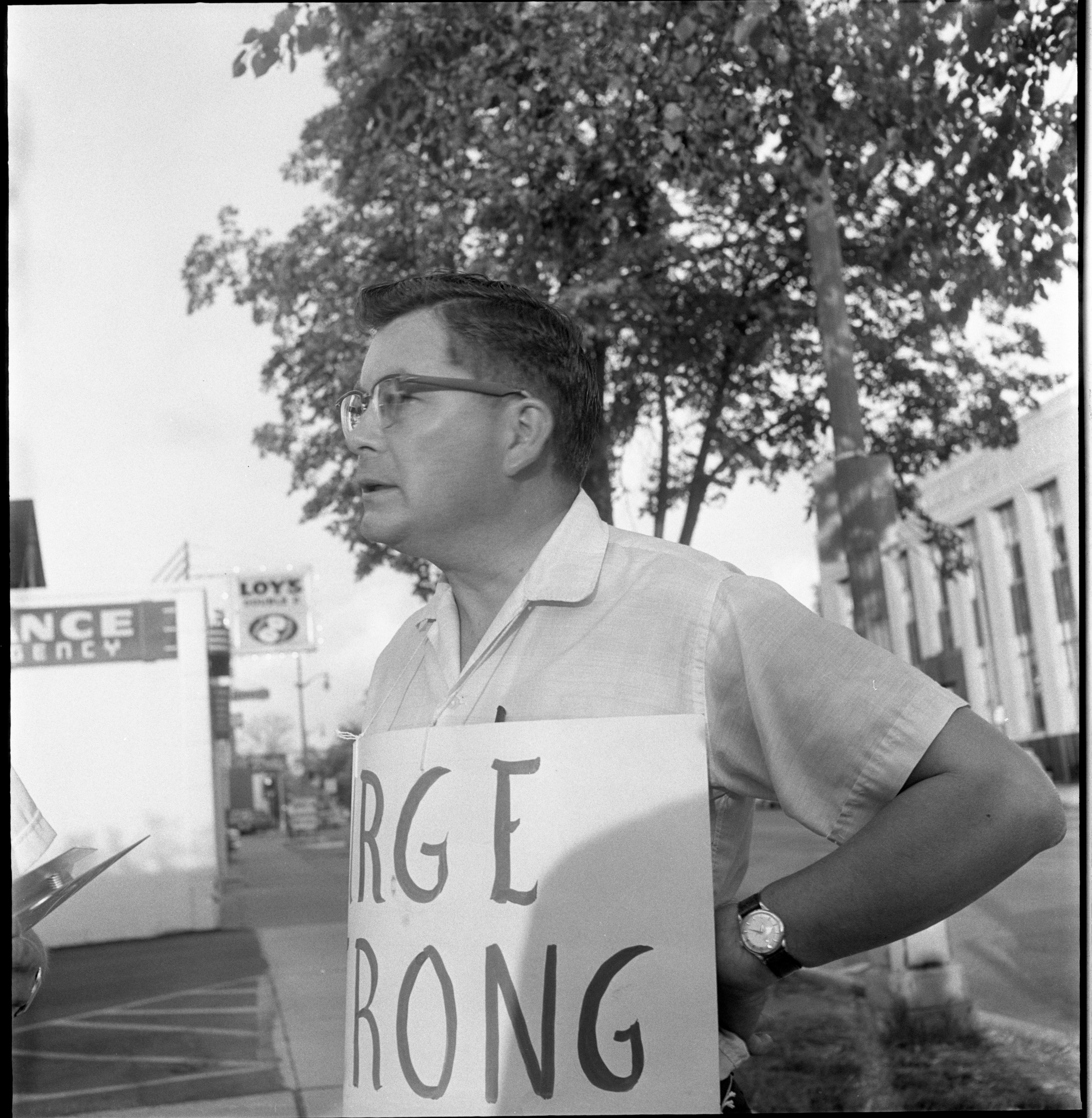 Donald Hoff Picketing Ann Arbor City Hall For Fair Housing, July 1963 image
