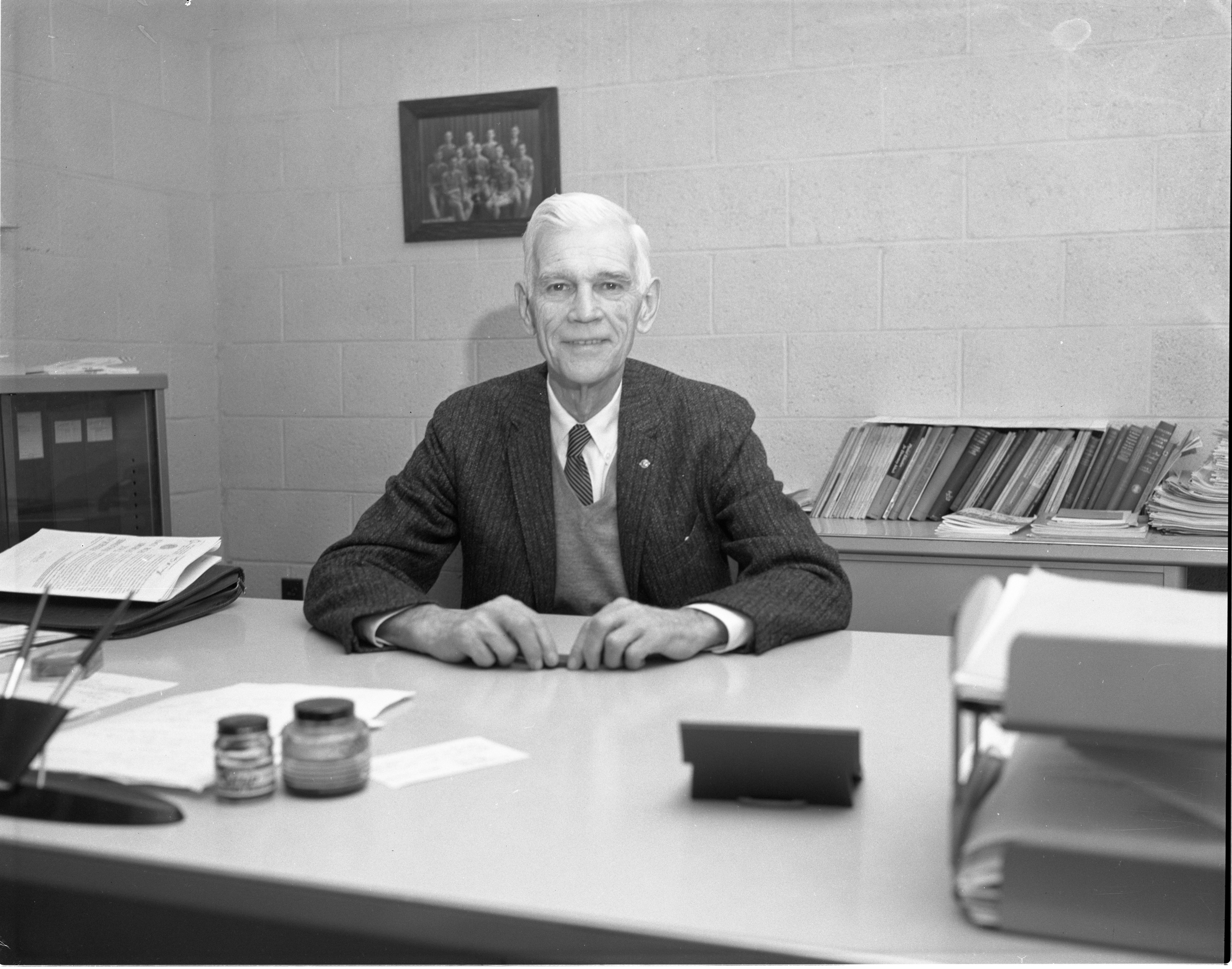 Lou Hollway Near Retirement As Ann Arbor High School Athletic Director, January 1962 image