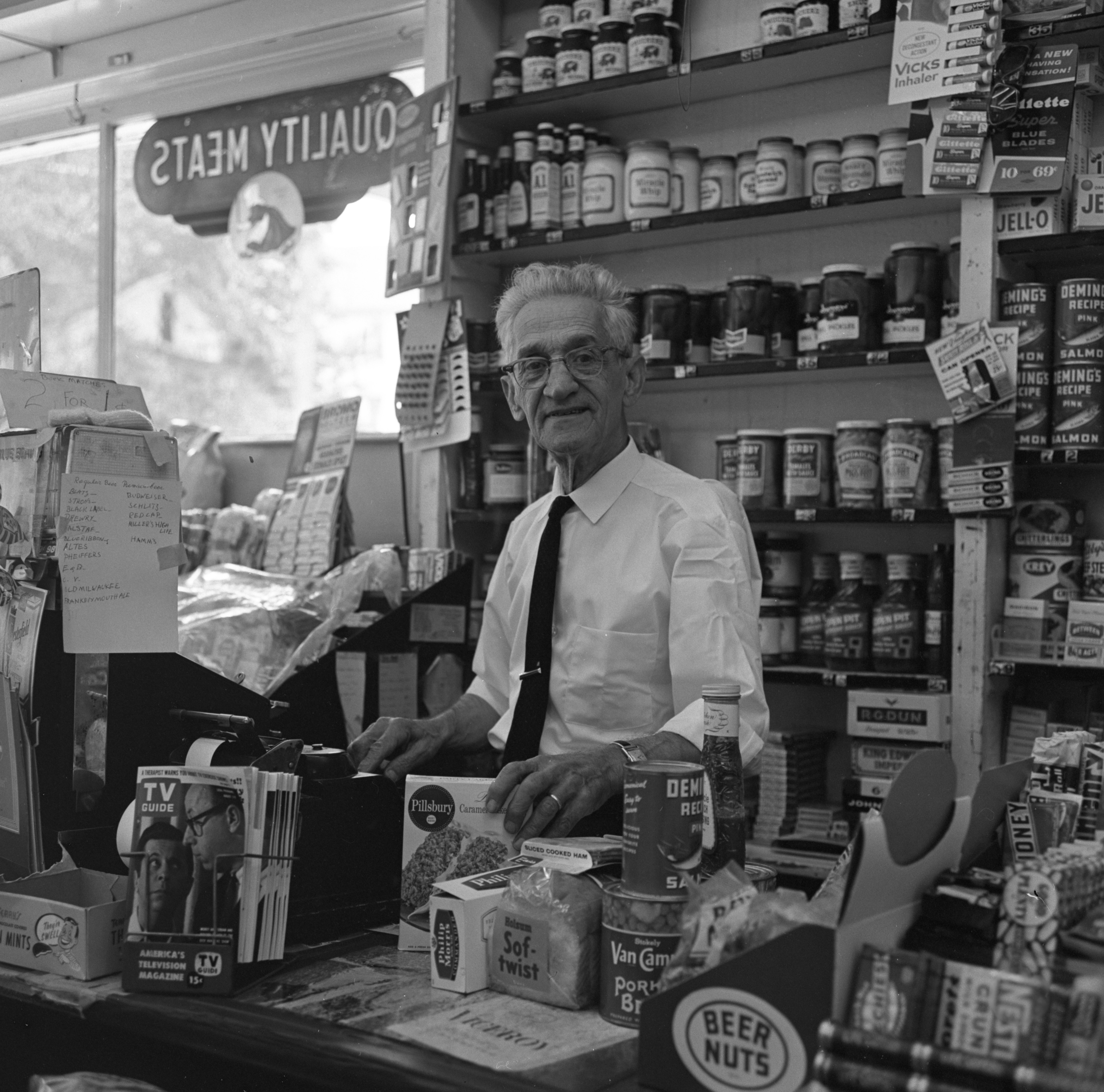 Thomas Kussurelis At His Business - Tom's Grocery Store, August 1963 image