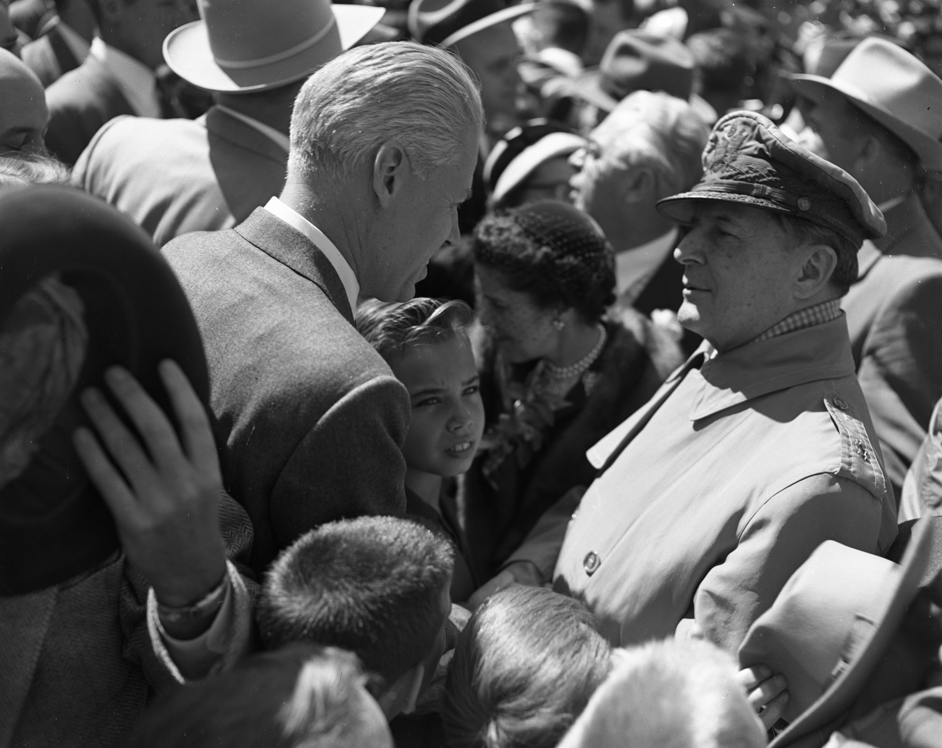 Harlan H. Hatcher and General Douglas MacArthur during the latter's visit to Ann Arbor, May 16, 1952 image
