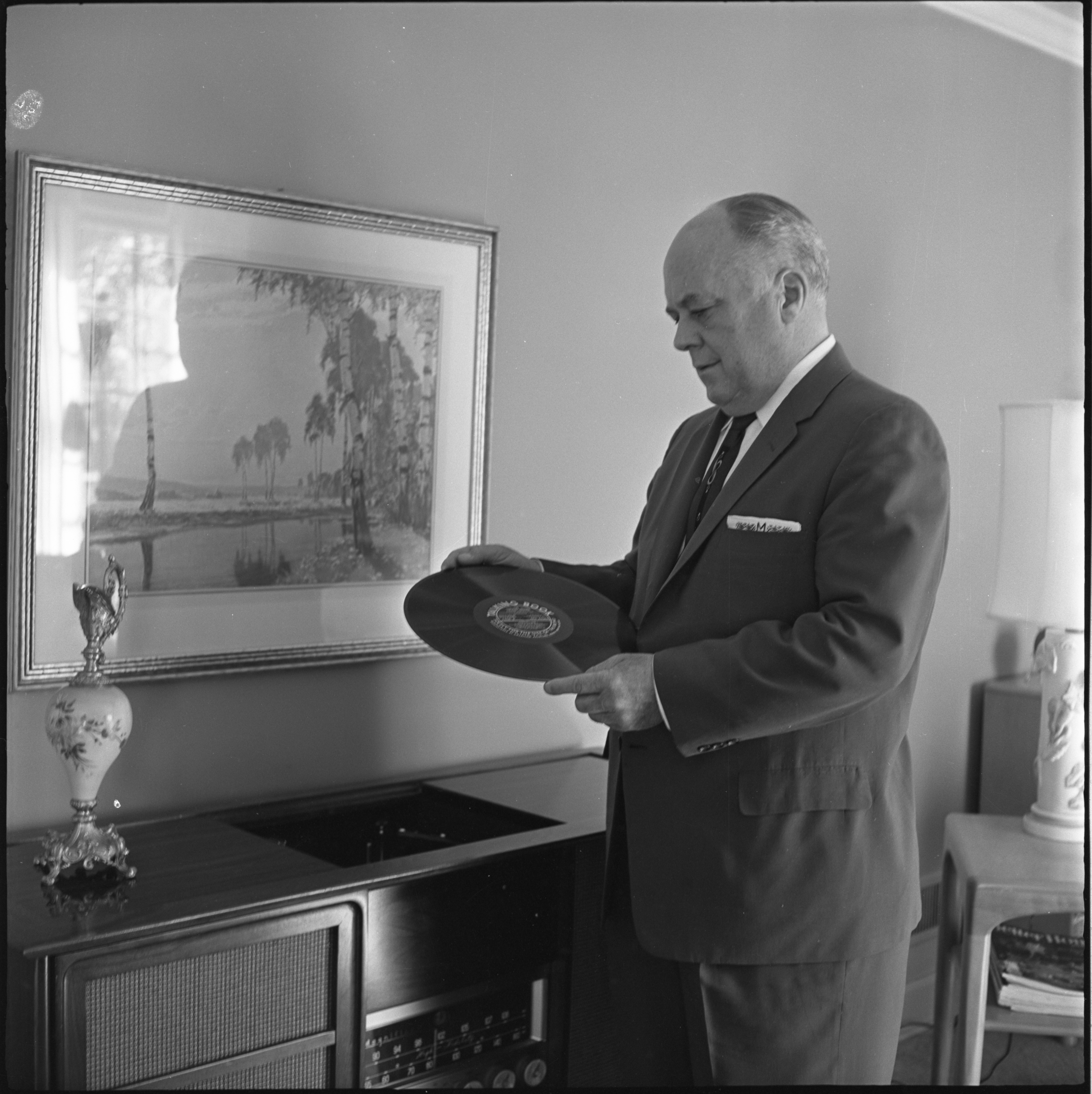 "Richard Maslin With A ""Talking Book"" From The Library Of Congress & American Foundation For The Blind, July 1960 image"