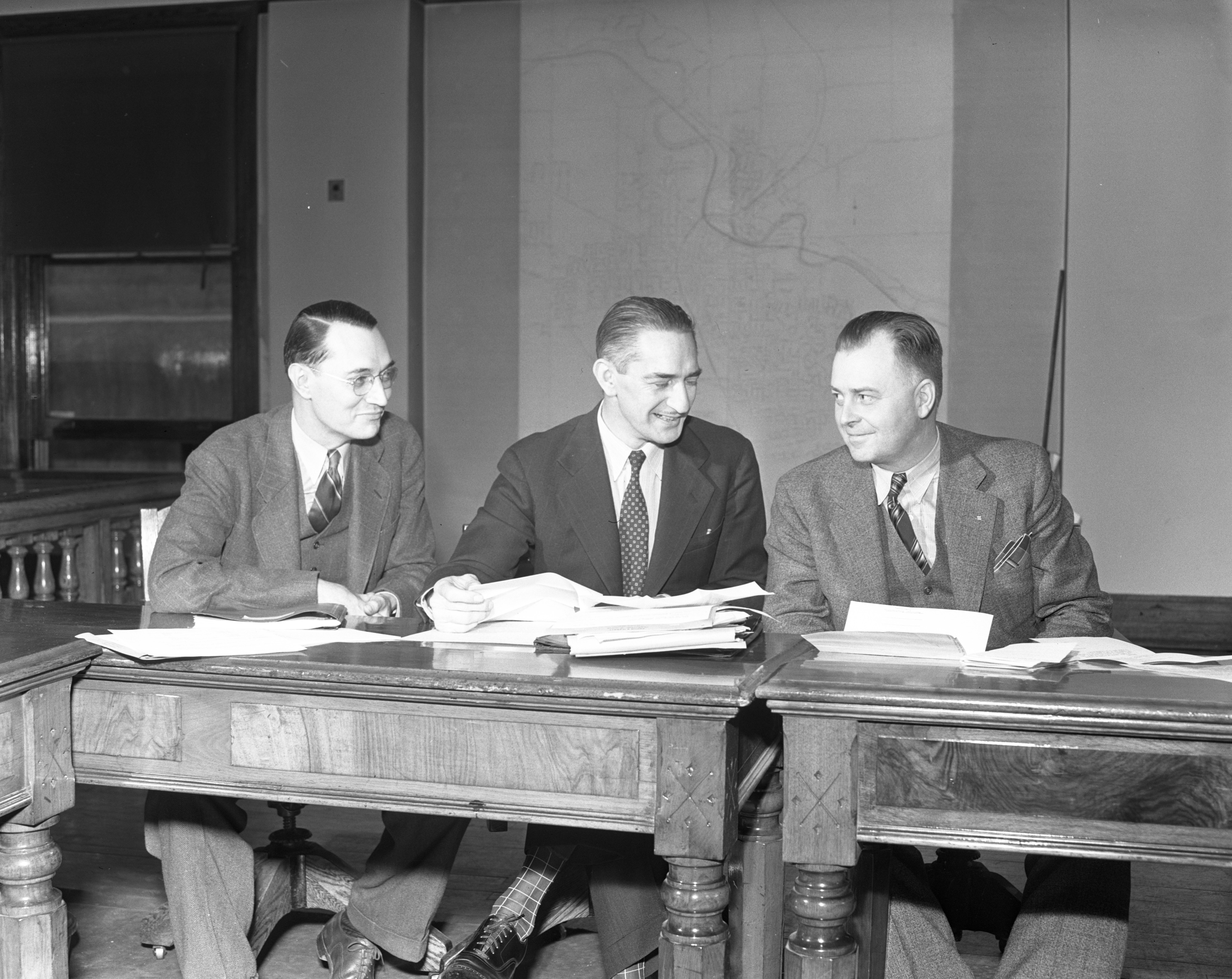 Arthur D. Moore as City Council Member, with Cecil O. Creal (left) and Glenn Alt (right), May 1940 image