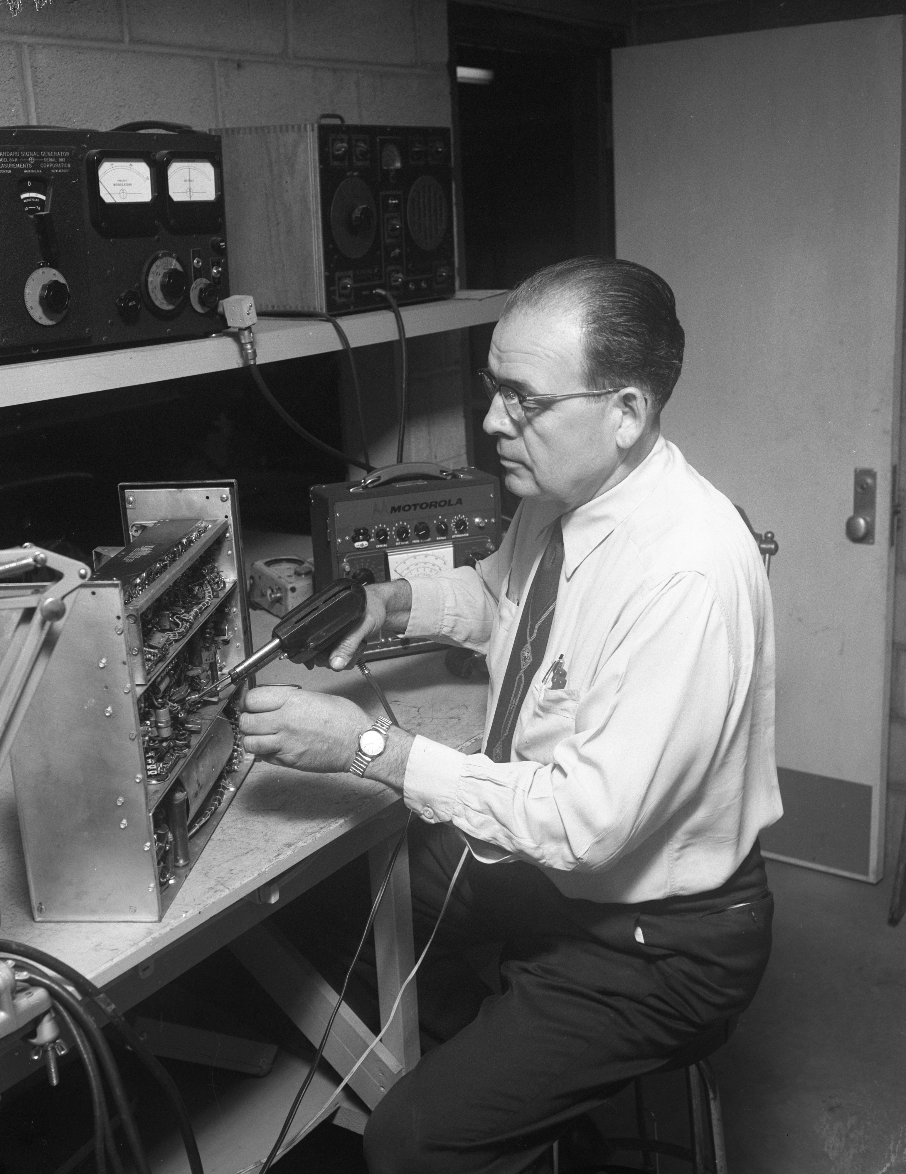 Retired Ann Arbor Police Department Radio Technician Carlton Nevins, February 1959 image