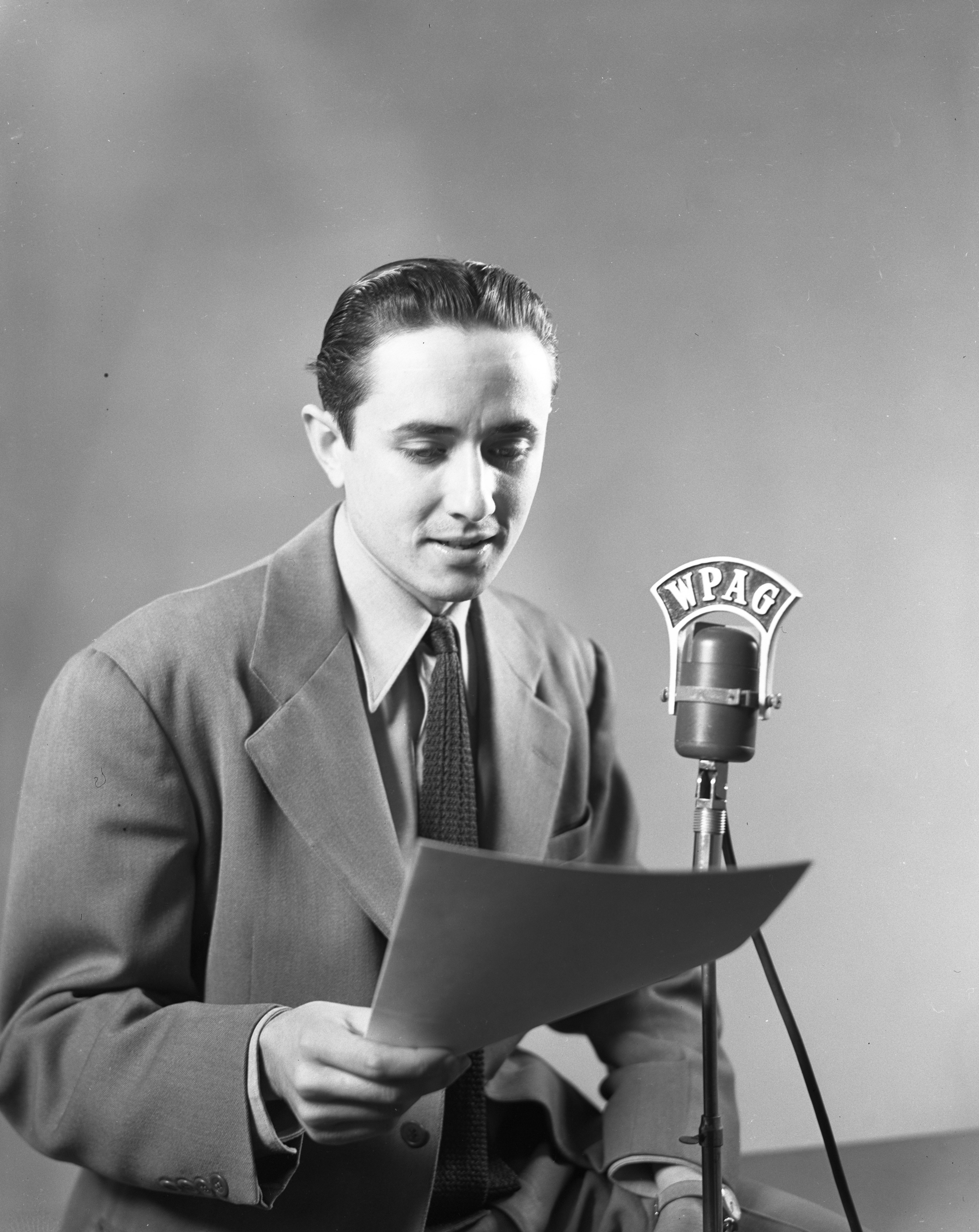 Pat Quinn, WPAG announcer, December 1947 image