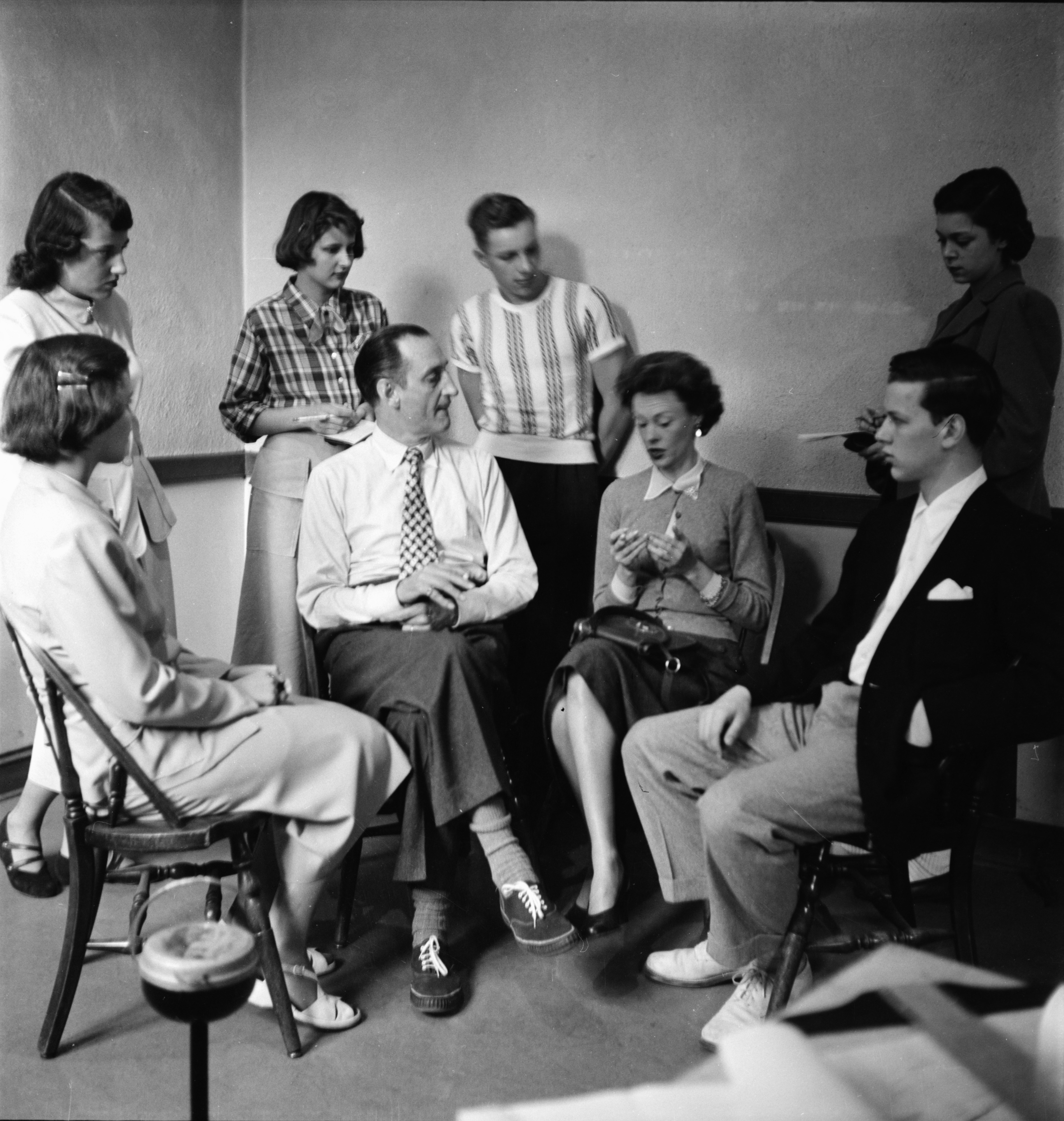 Basil Rathbone & Meg Mundy Interviewed By Ann Arbor High Students, May 1950 image
