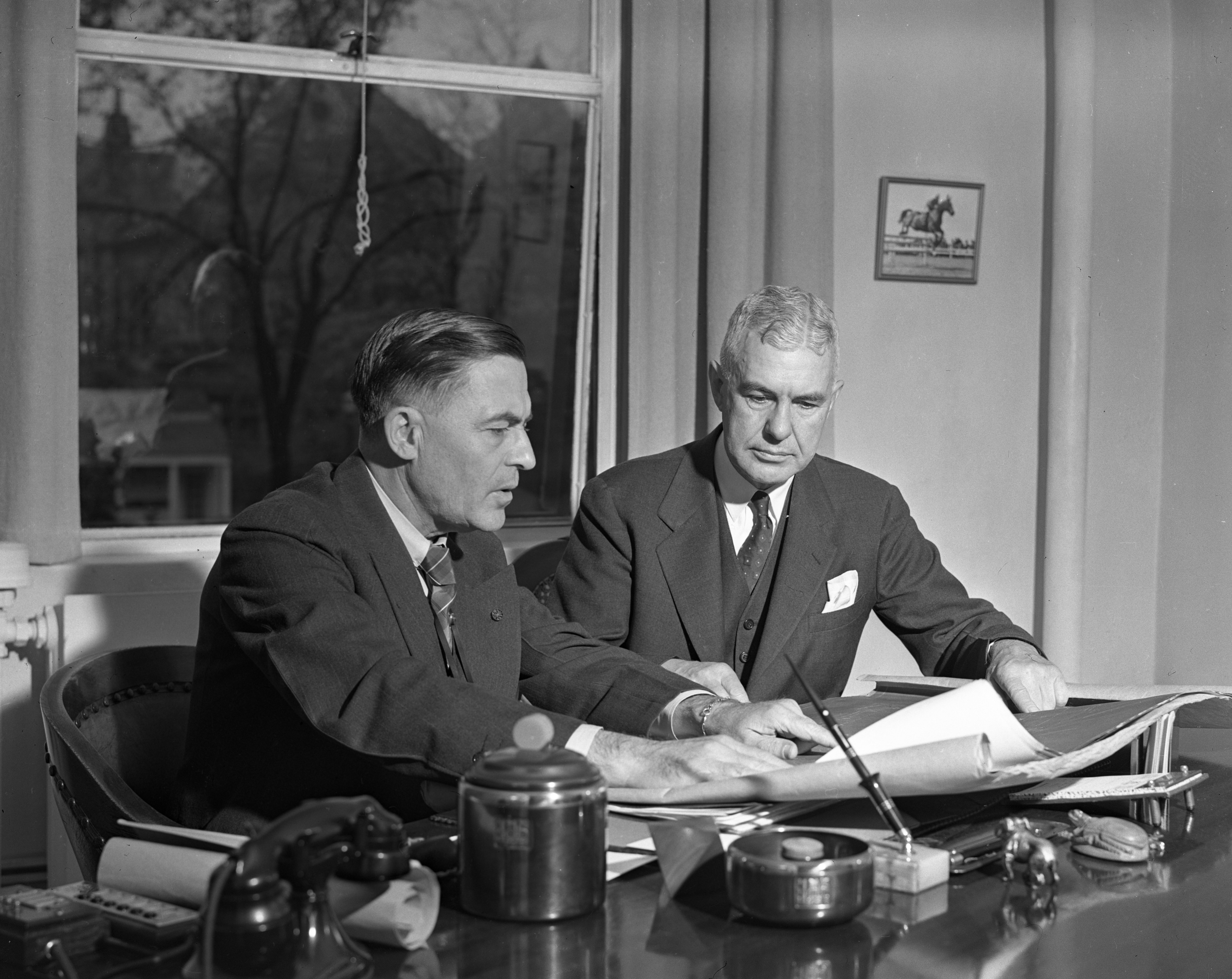 University of Michigan President Alexander G. Ruthven Meets With Prof. Lewis M. Gram, October 1939 image