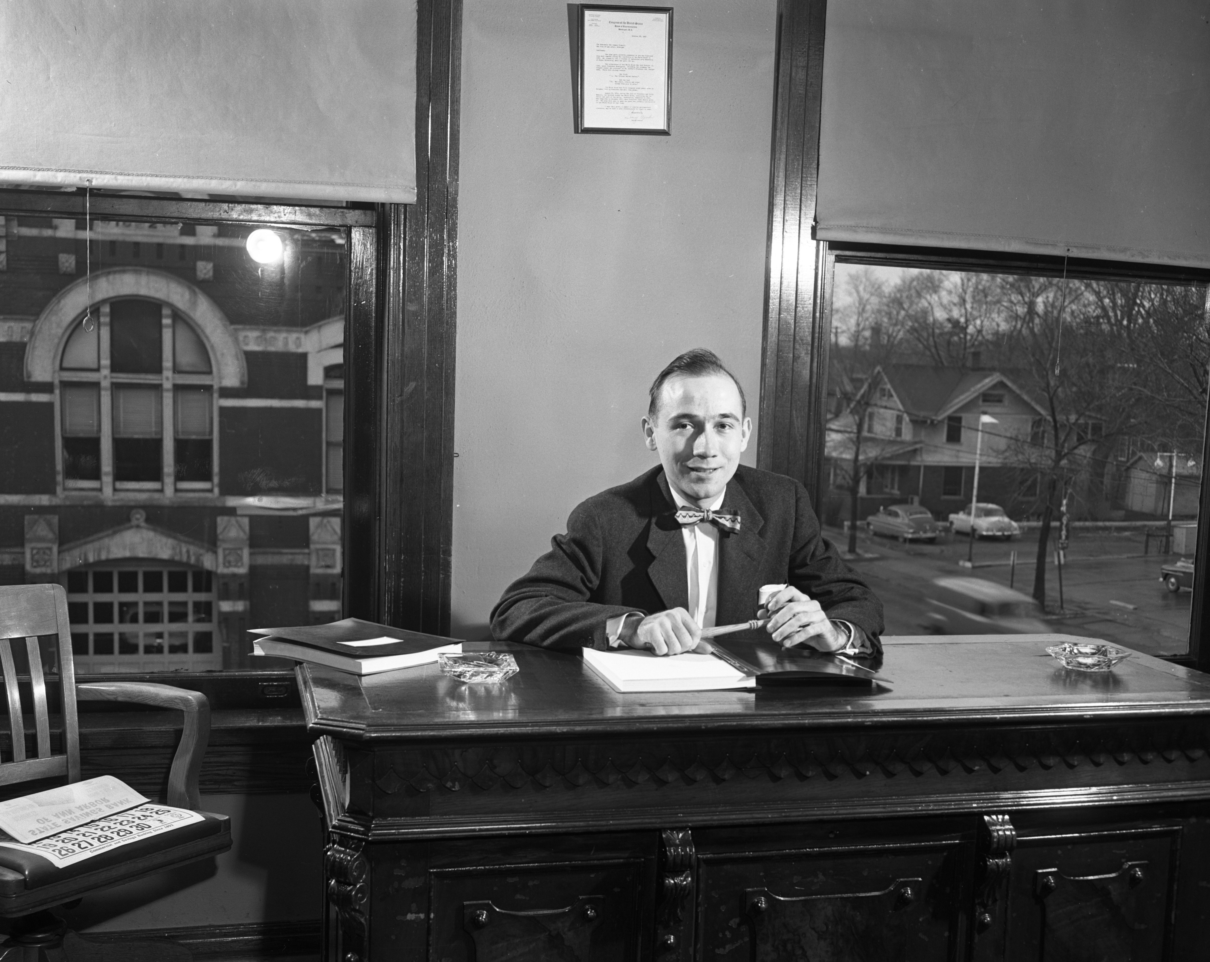 Geroge Wahr Sallade, first time presiding as president of Ann Arbor's City Council, April 1953 image