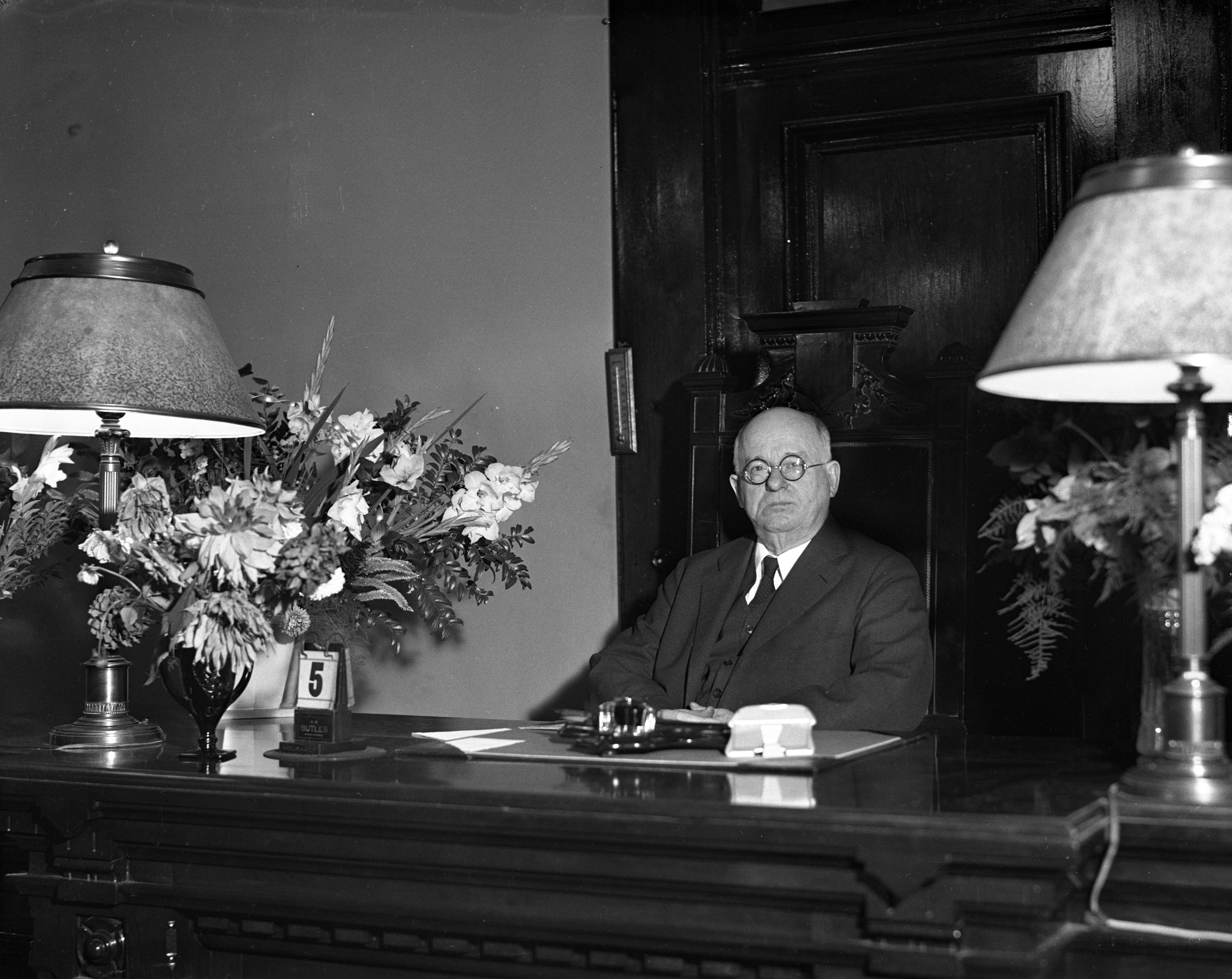 Judge George W. Sample returns to bench, October 1936 image