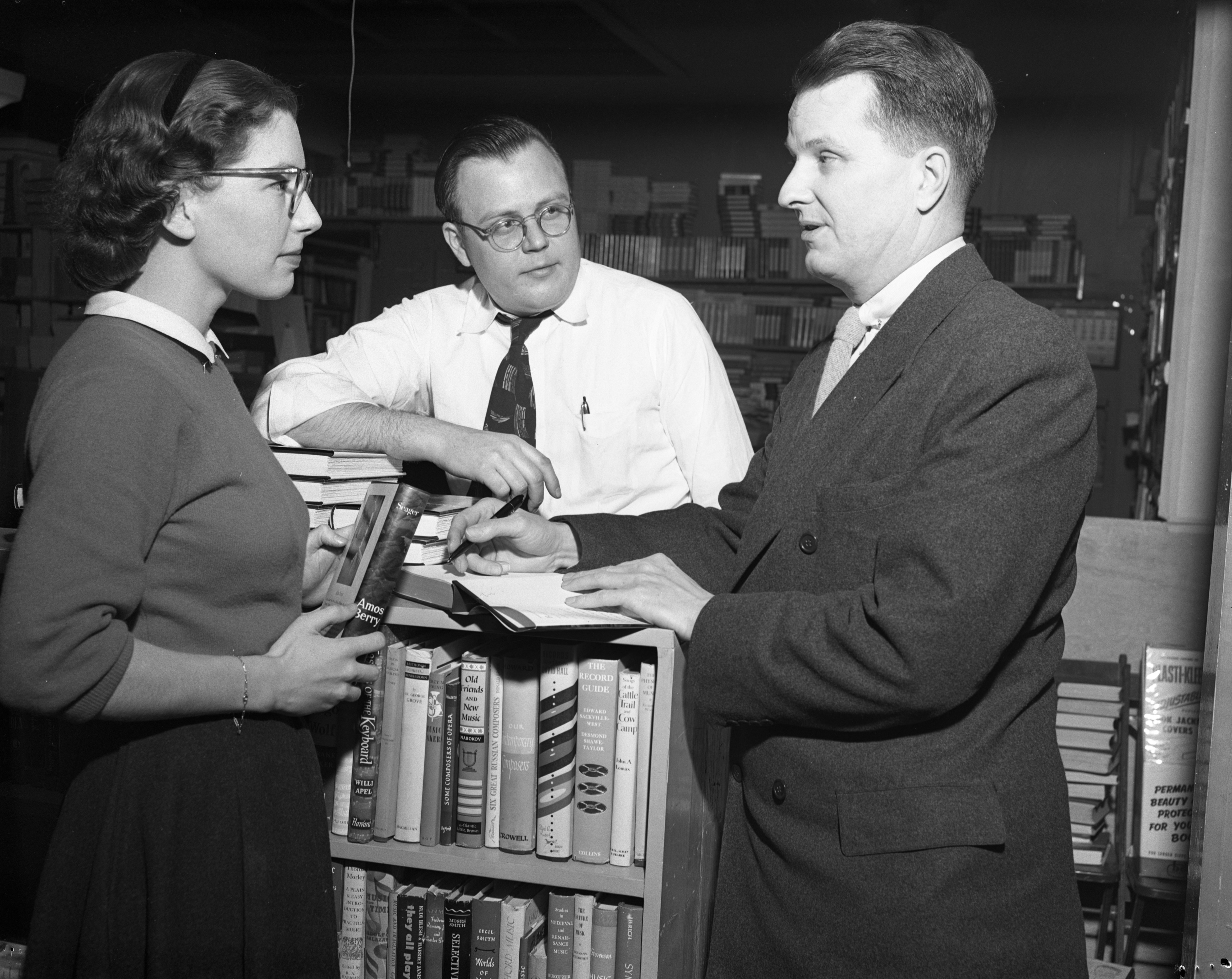Professor Alan Seager, autographs book at Marshall's Book Store, March 1953 image