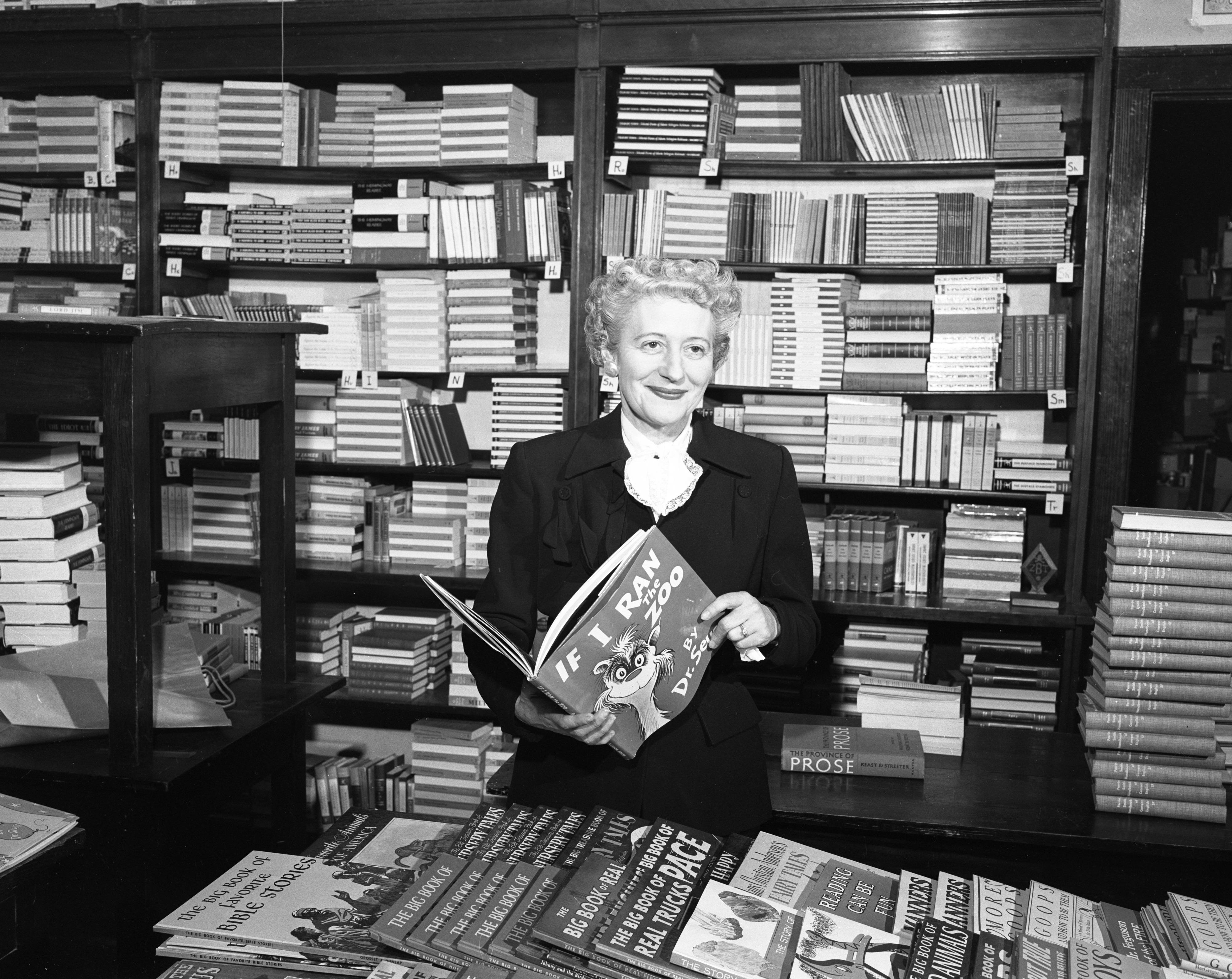 Florence Slater, Sports Enthusiast and Owner of Slater's Book Store In Nickels Arcade, February 1957 image