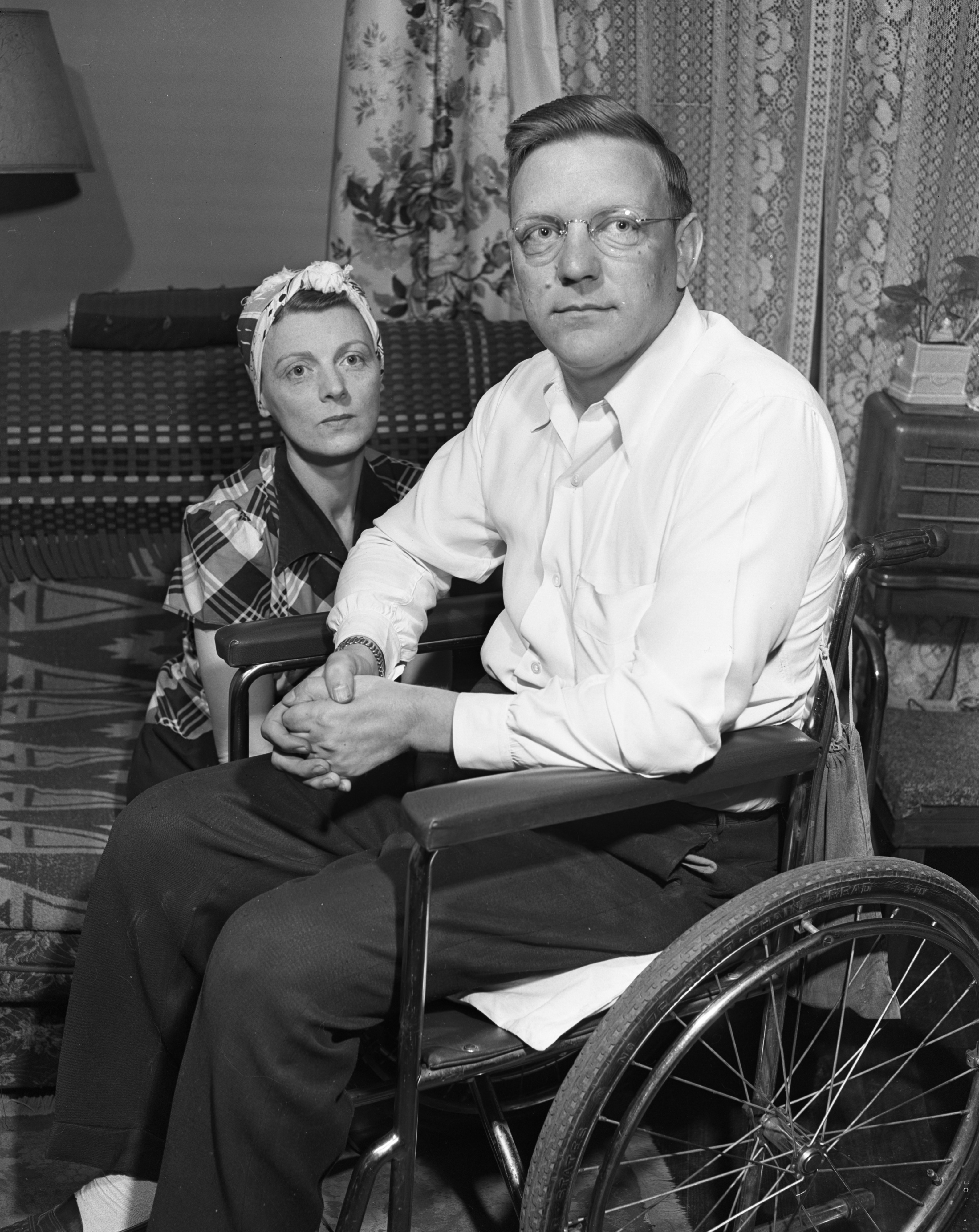 Paralyzed Veteran Robert Wagner and Wife Look for Temporary Home, April 1950 image
