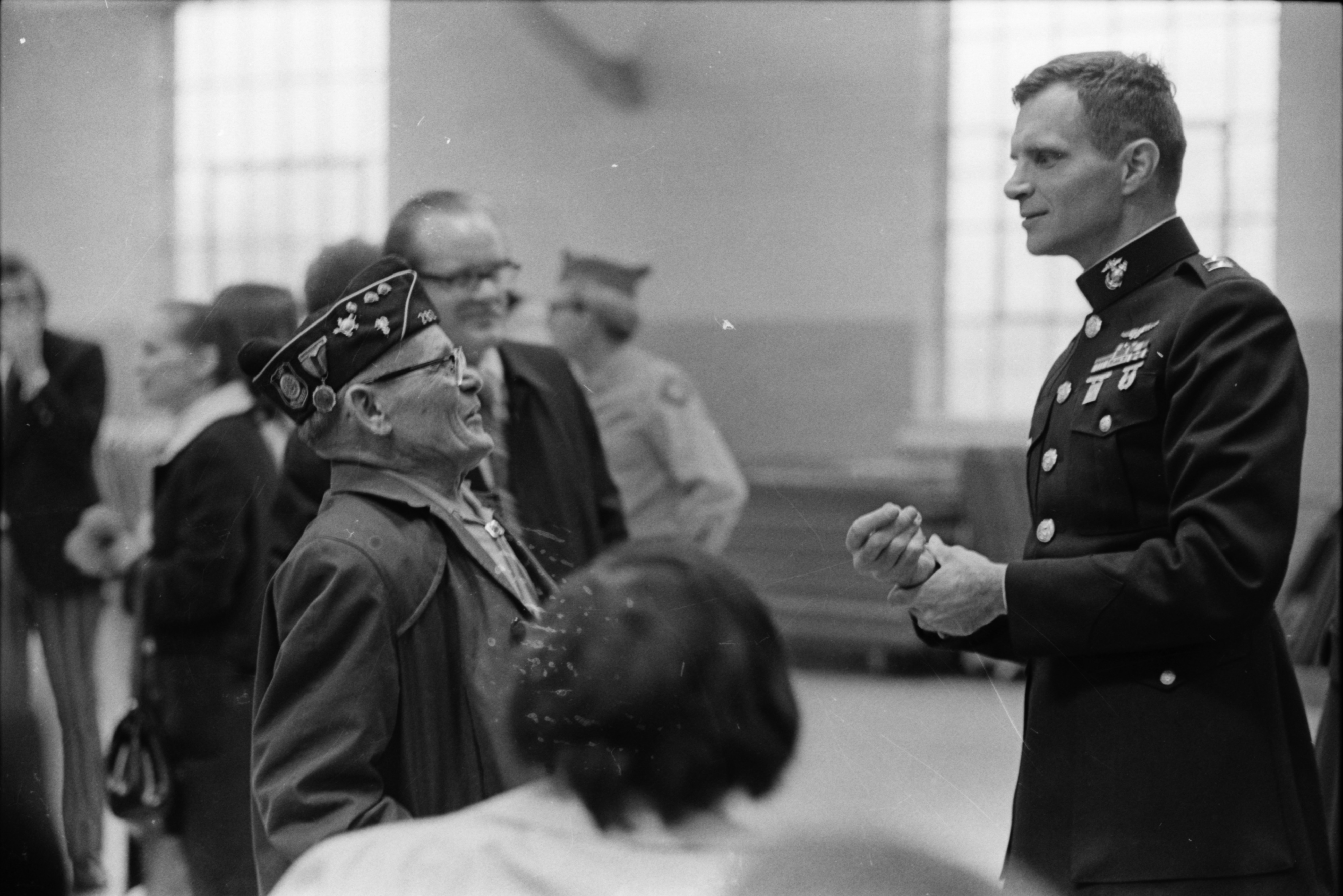 Capt. James Warner, former POW, at National Guard Armory reception, April 1973 image
