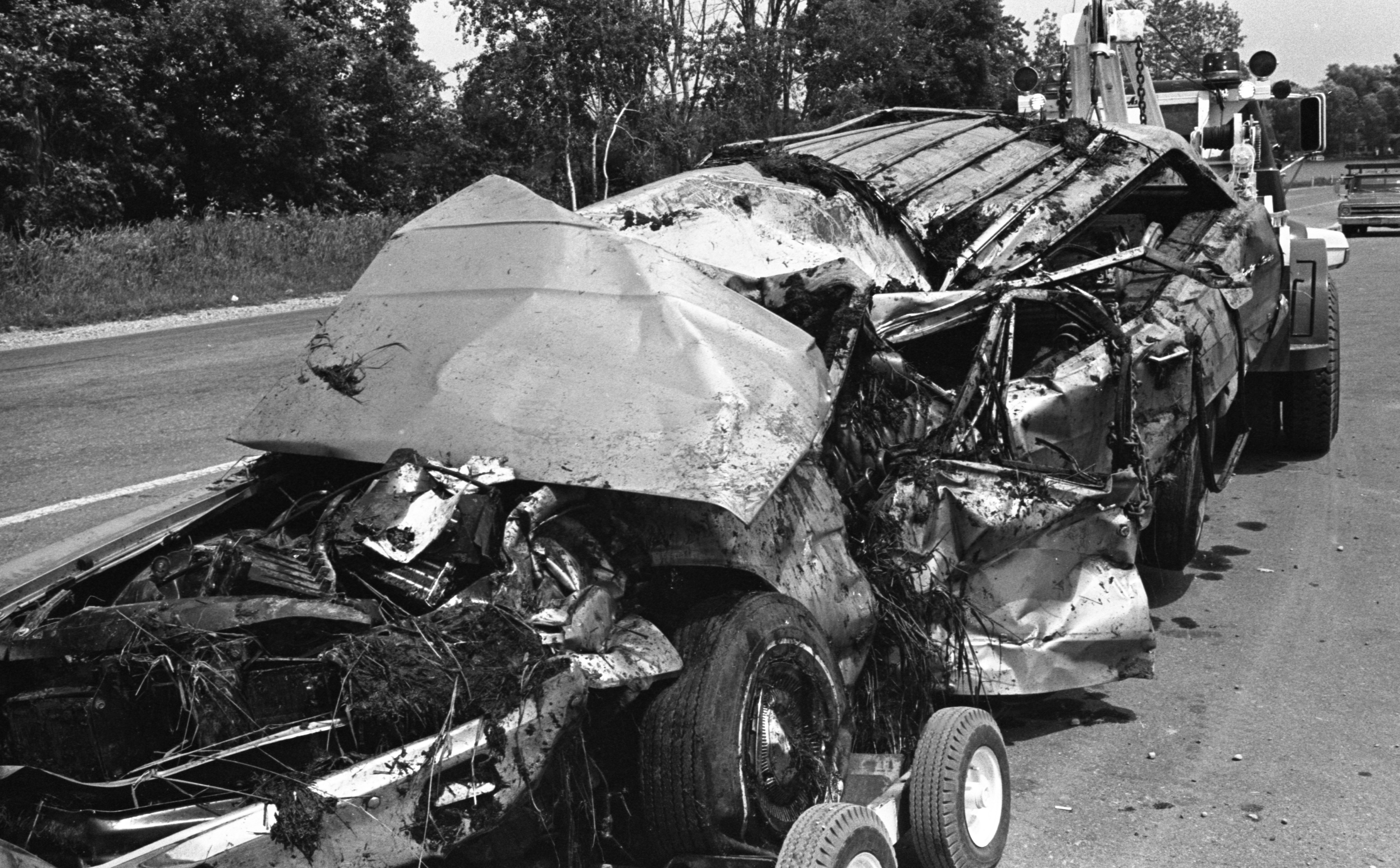Remains Of The Schill Family Station Wagon After Car-Train Crash, July 1970 image