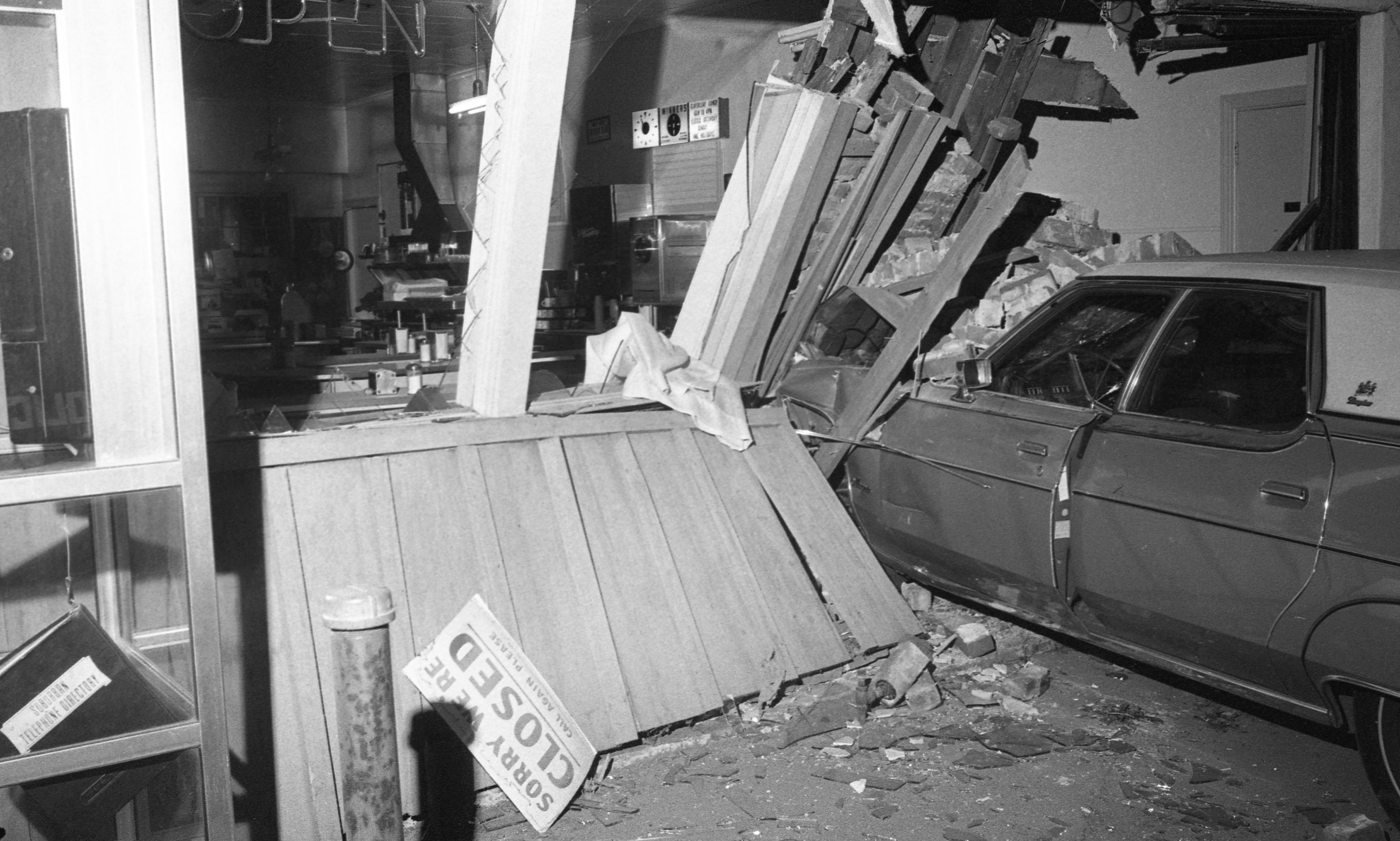 Car Crashed Into Cloverleaf Lunch Building, 1015 Broadway, October 1973 image