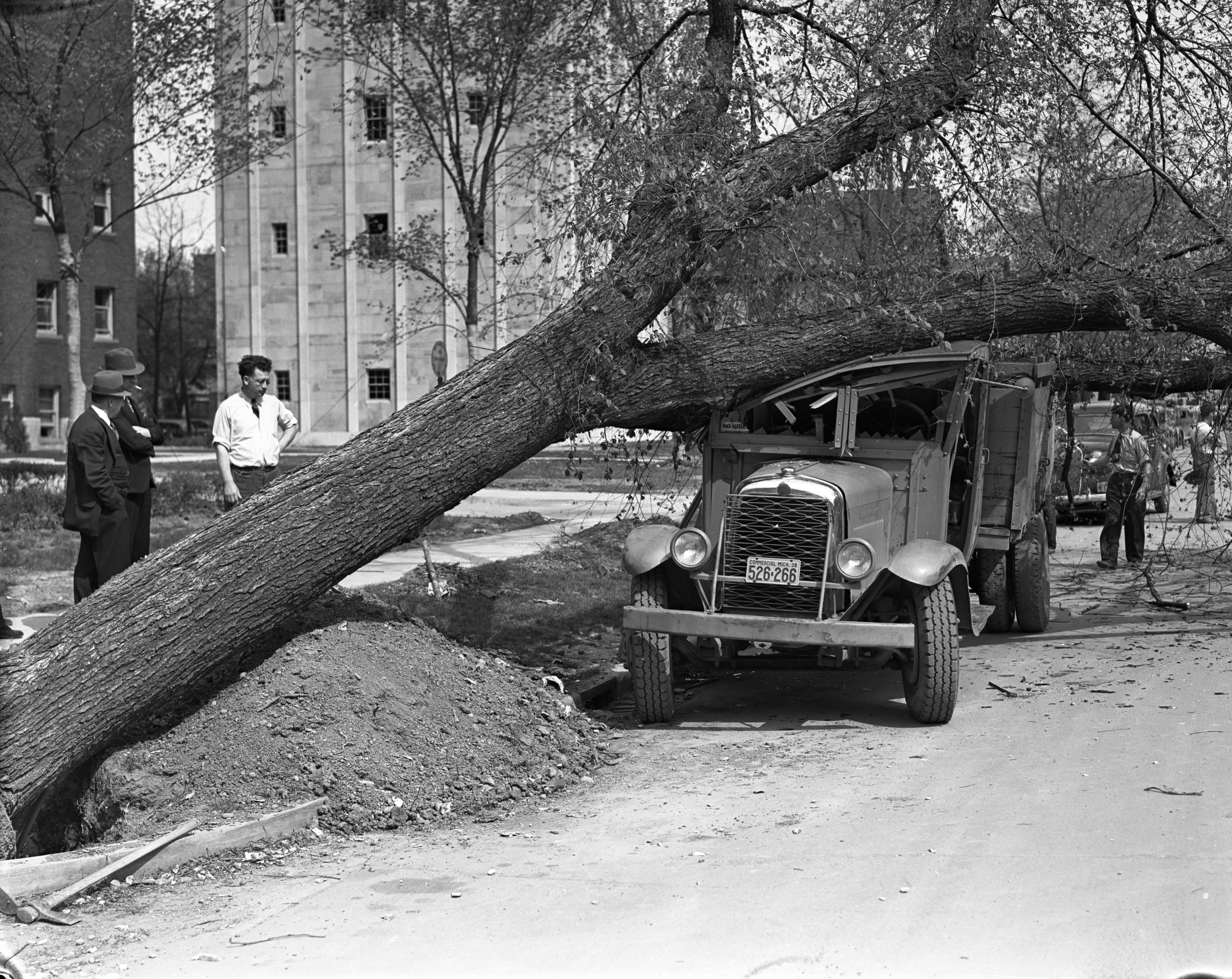 Tree Falls on Standard Oil Truck Near Burton Tower on University of Michigan Campus, May 1938 image