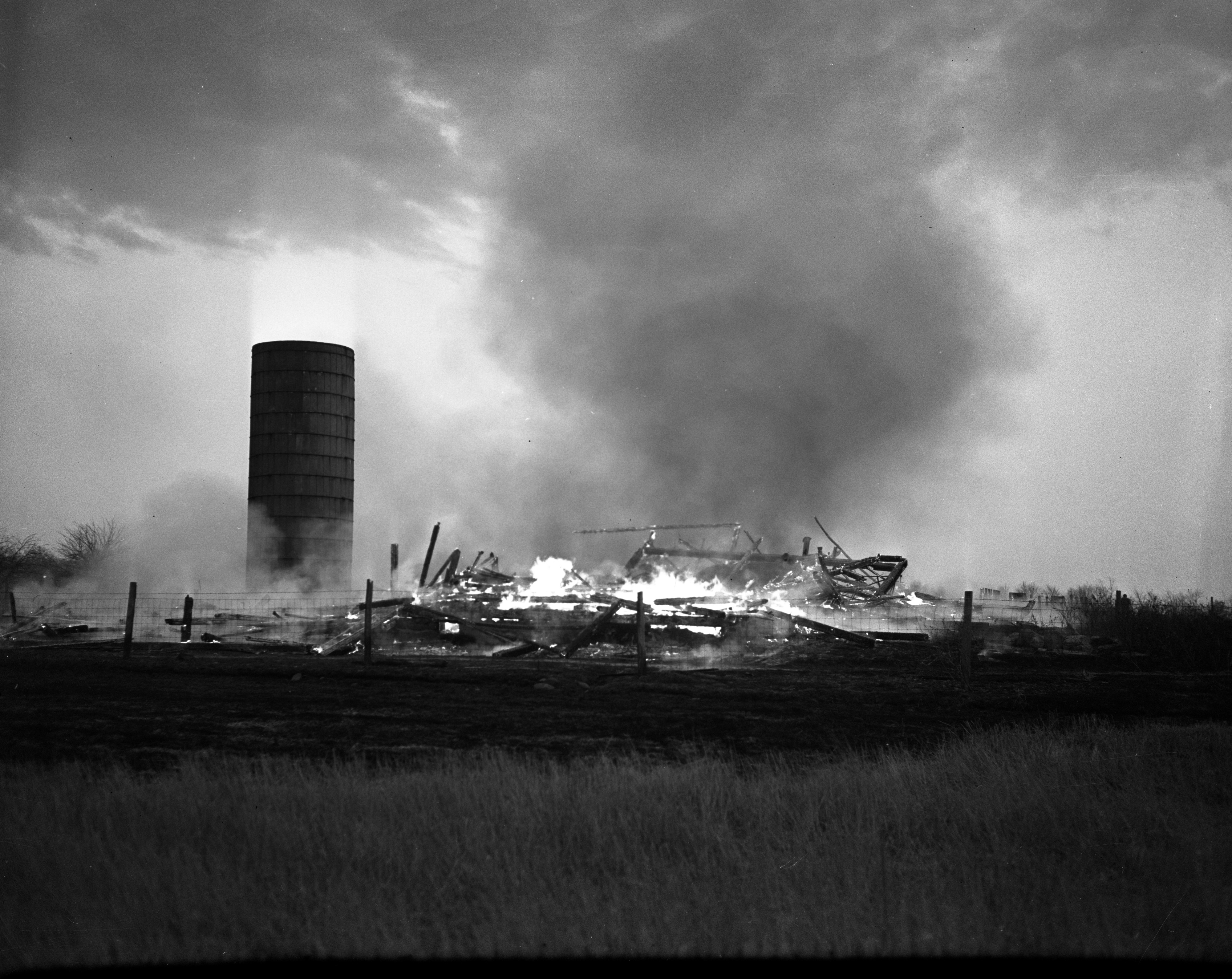 Barn on fire, Earhart Road, March 1949 image