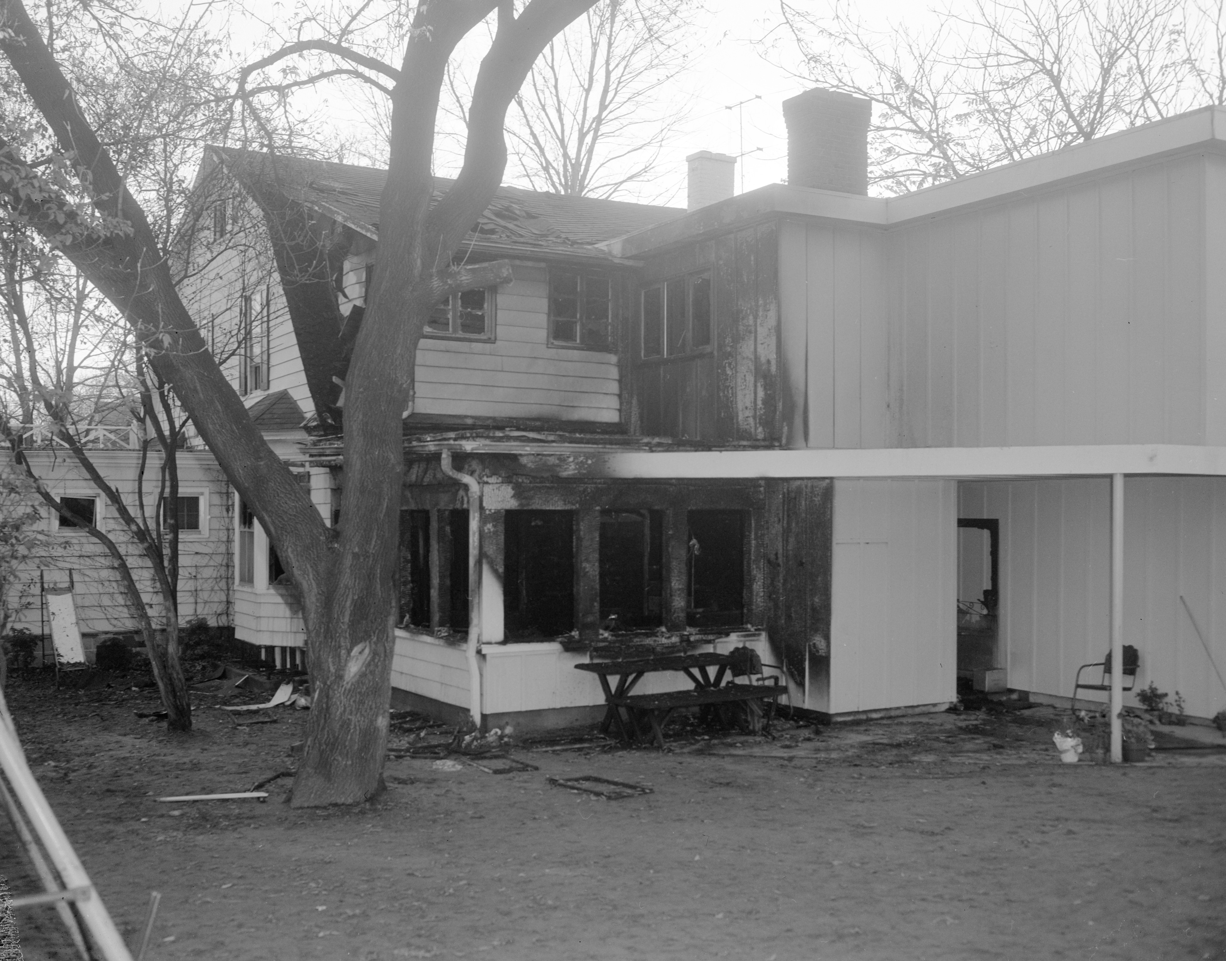 Where Three Died In Fatal Fire at Home of Dr. Aaron Edwards, November 1958 image