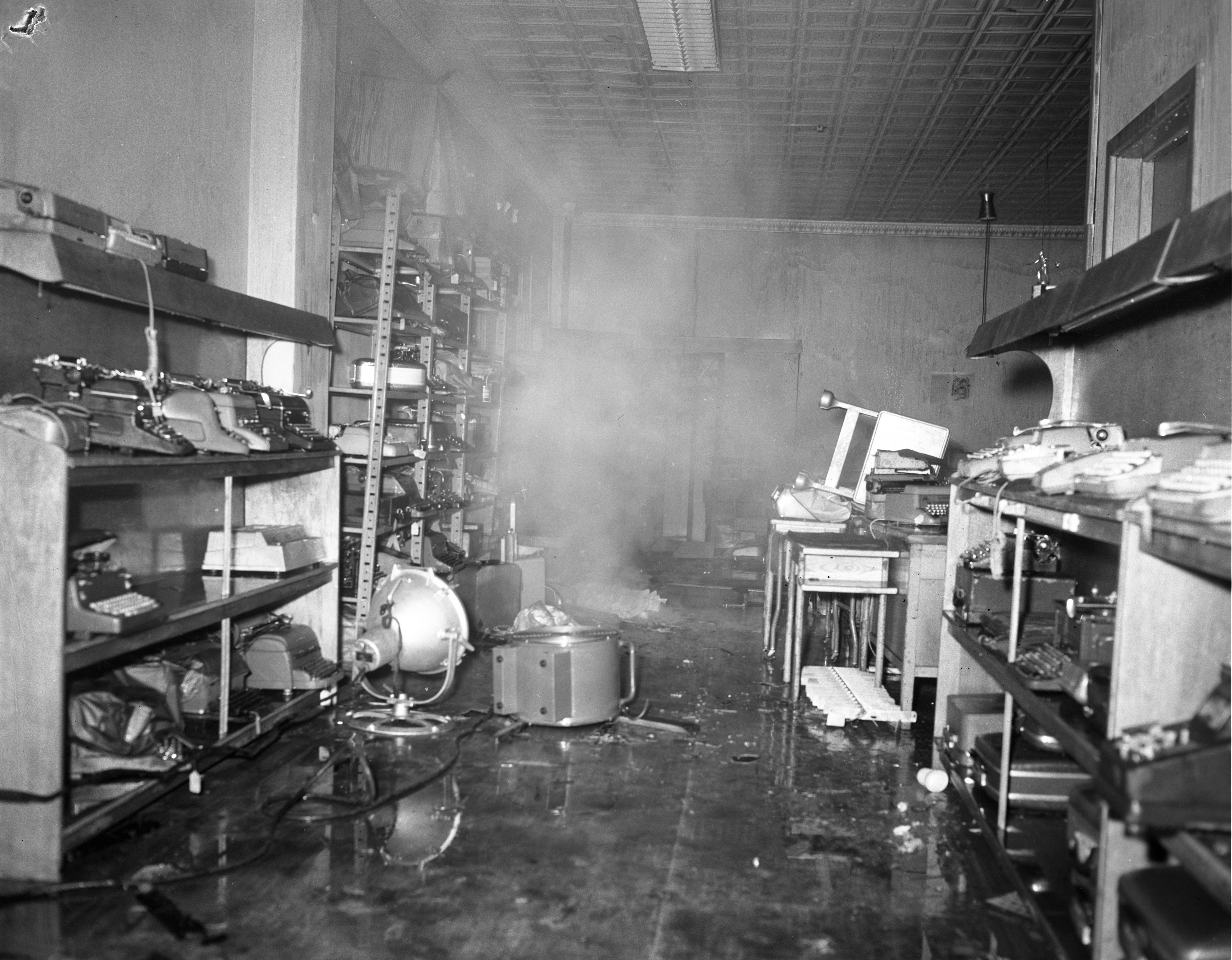 Ann Arbor Office Machines Inventory Destroyed In Fire, February 1961 image