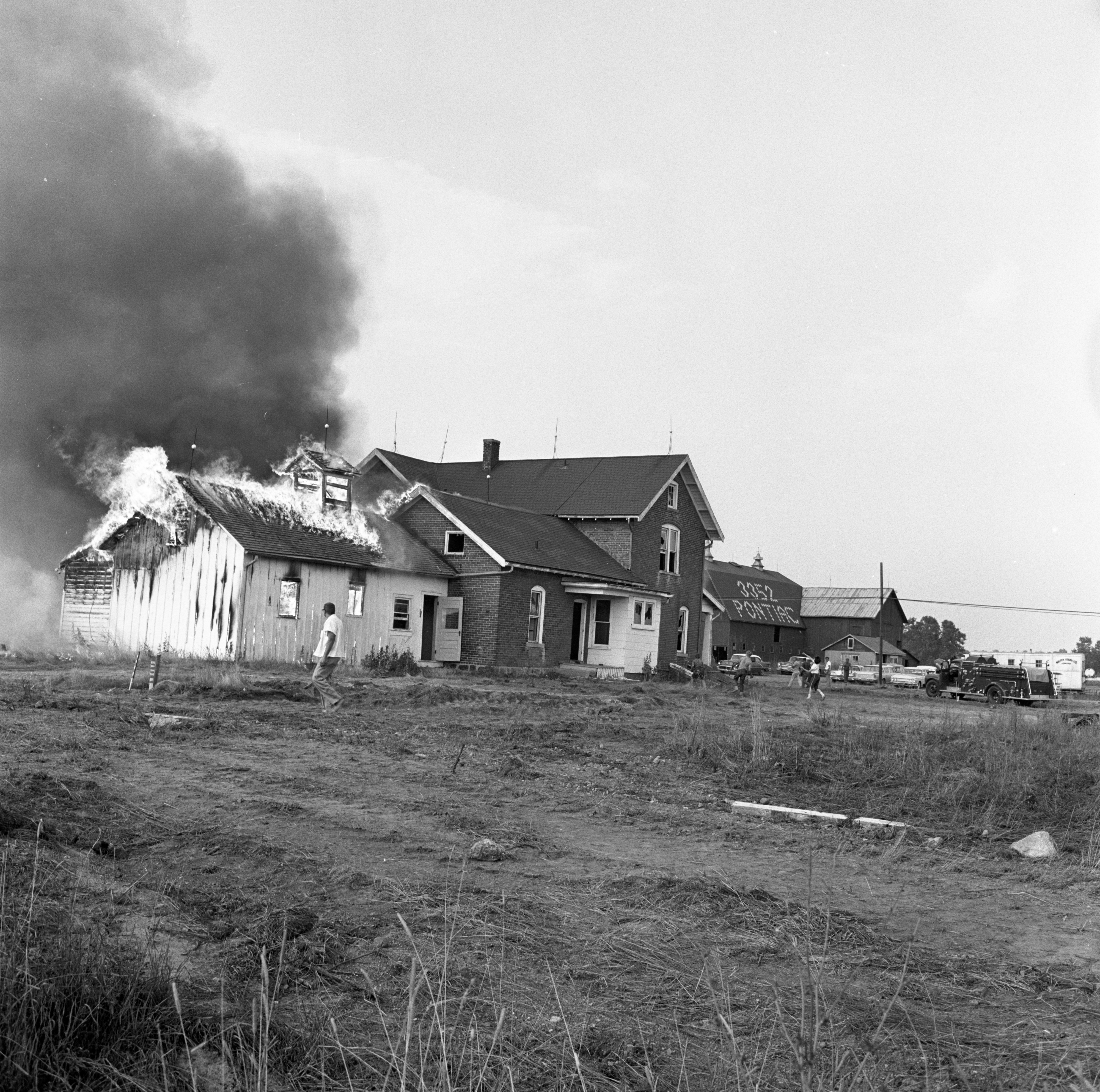 The Kappler Home At 3351 Pontiac Road Is Burned To Make Room For US-23 Construction, July 1961 image