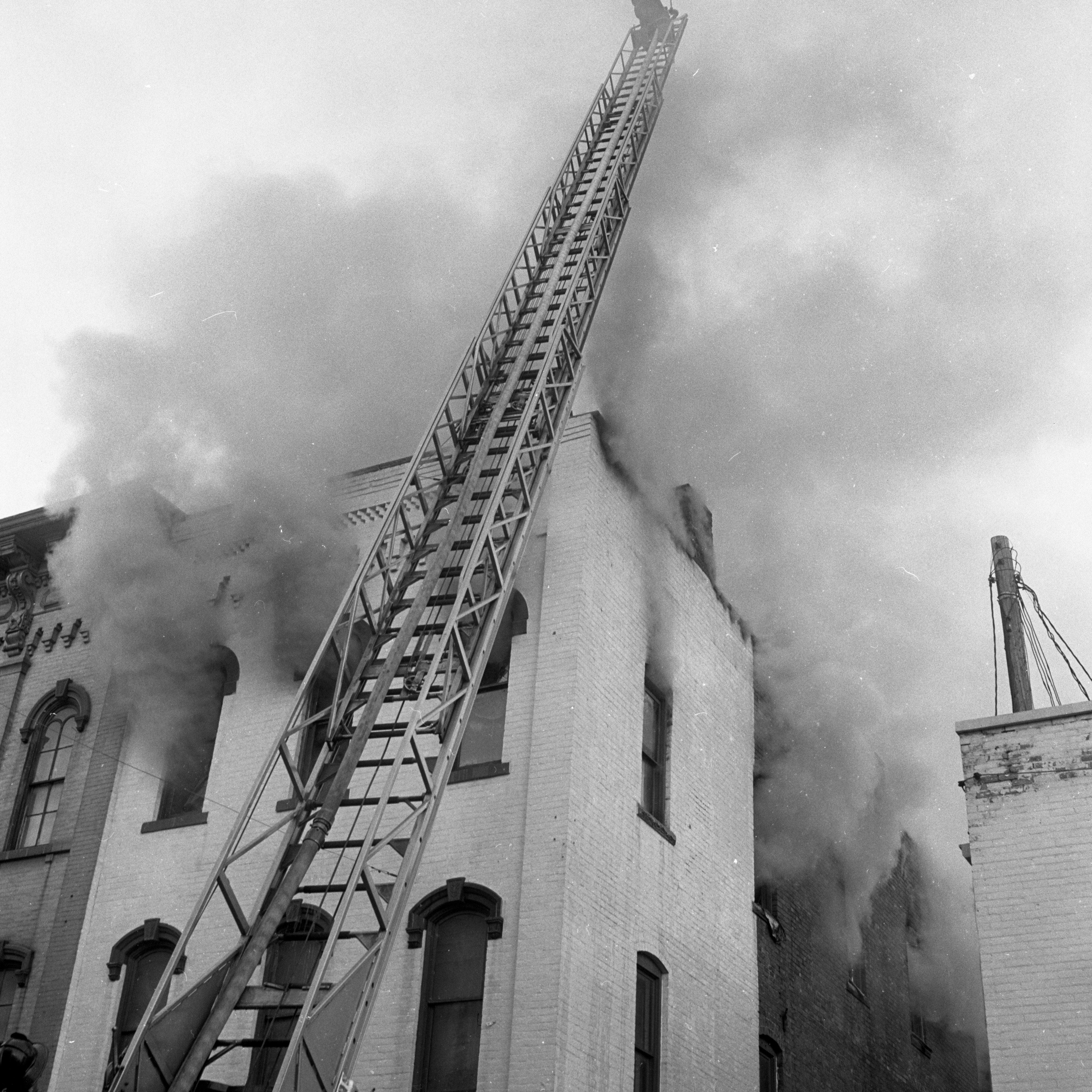 Ann Arbor Fire Department Battles Fire at Michigan Woodcraft Co. Building, November 1962 image