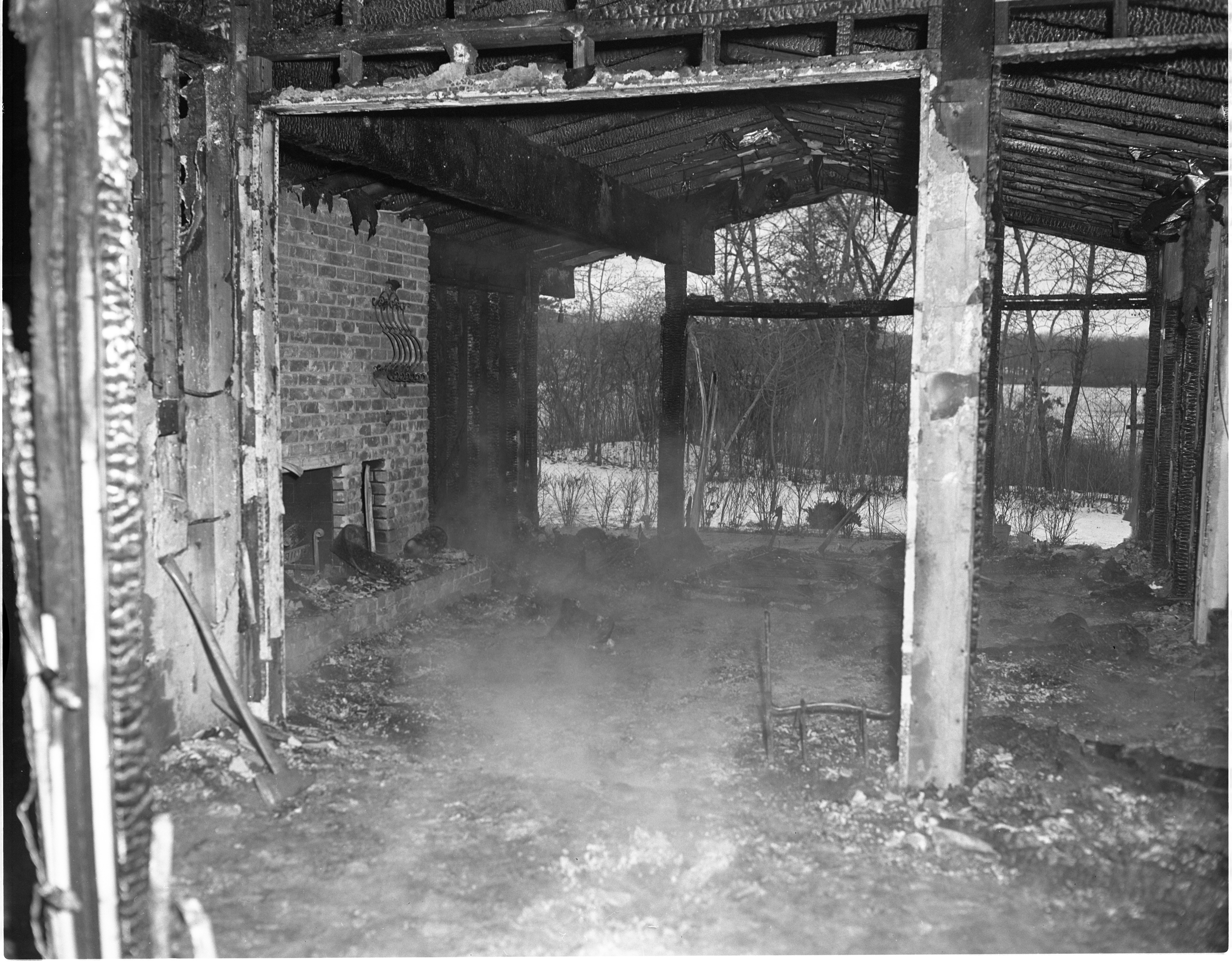 Remains Of 4091 Thornoaks Drive After A Fire, January 1965 image