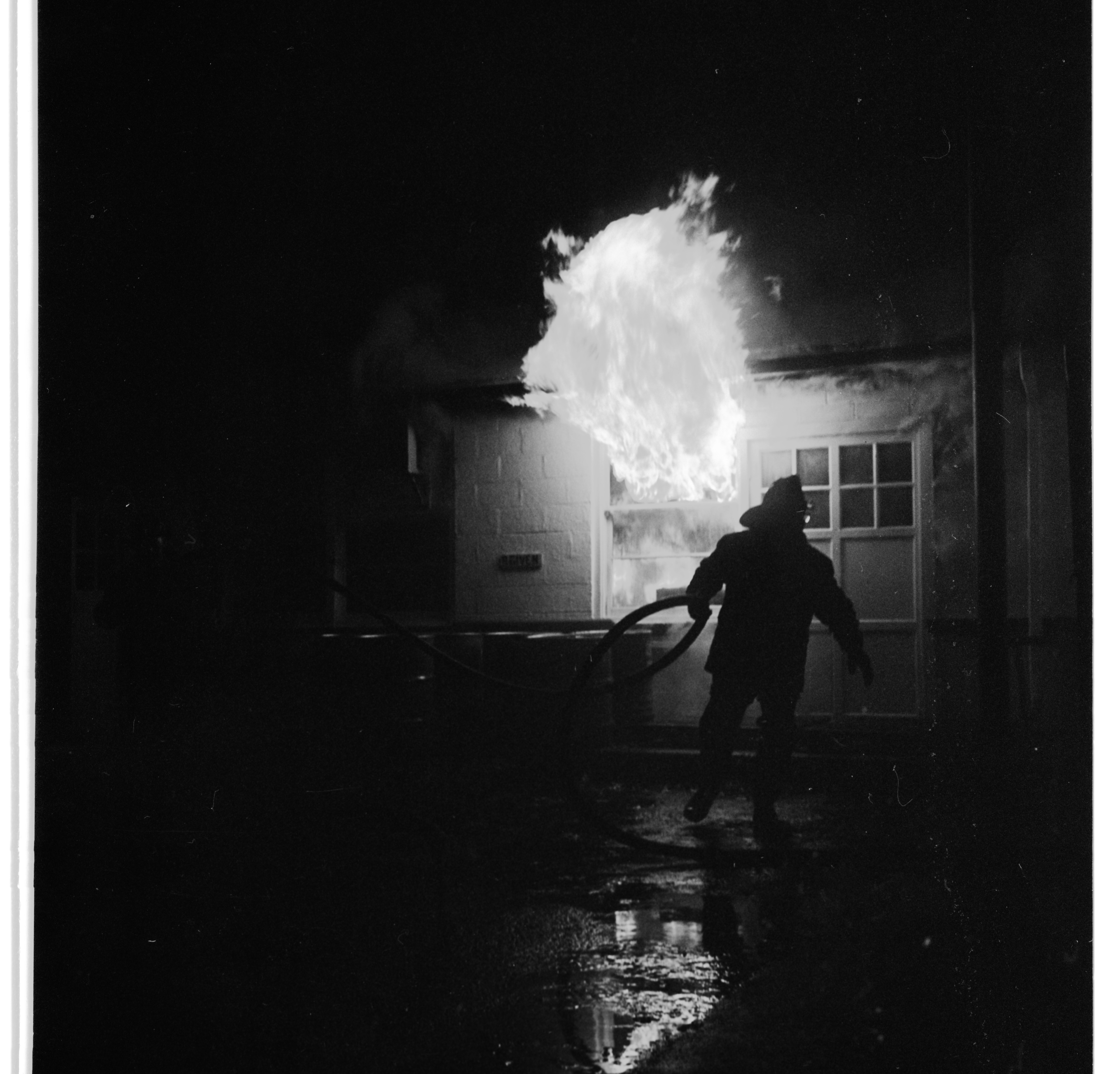 Volunteer Firemen Fight Fire at Applied Dynamics International  Plant In Scio Twp., November 1968 image
